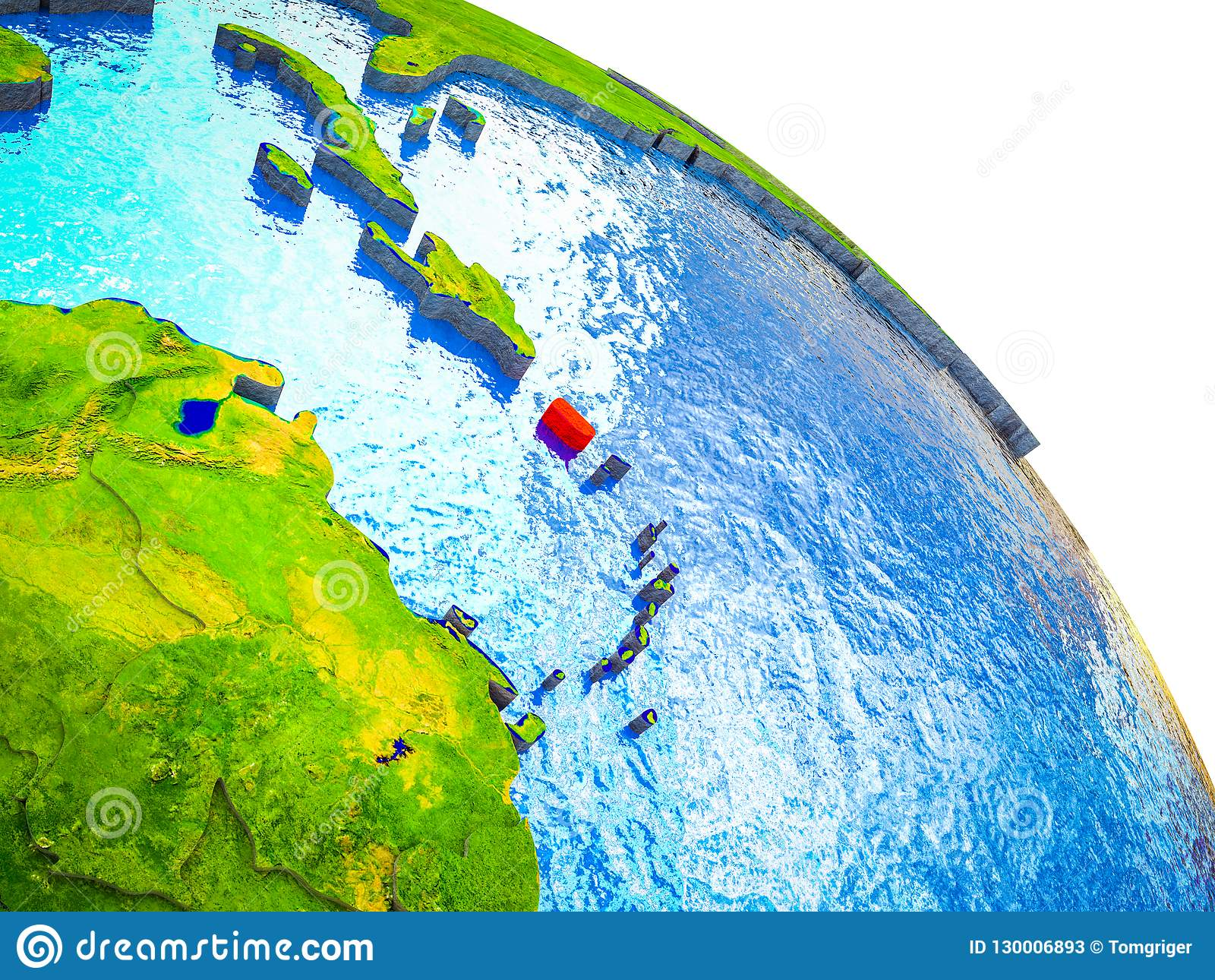 Map Of Puerto Rico On 3d Earth Stock Illustration Illustration Of