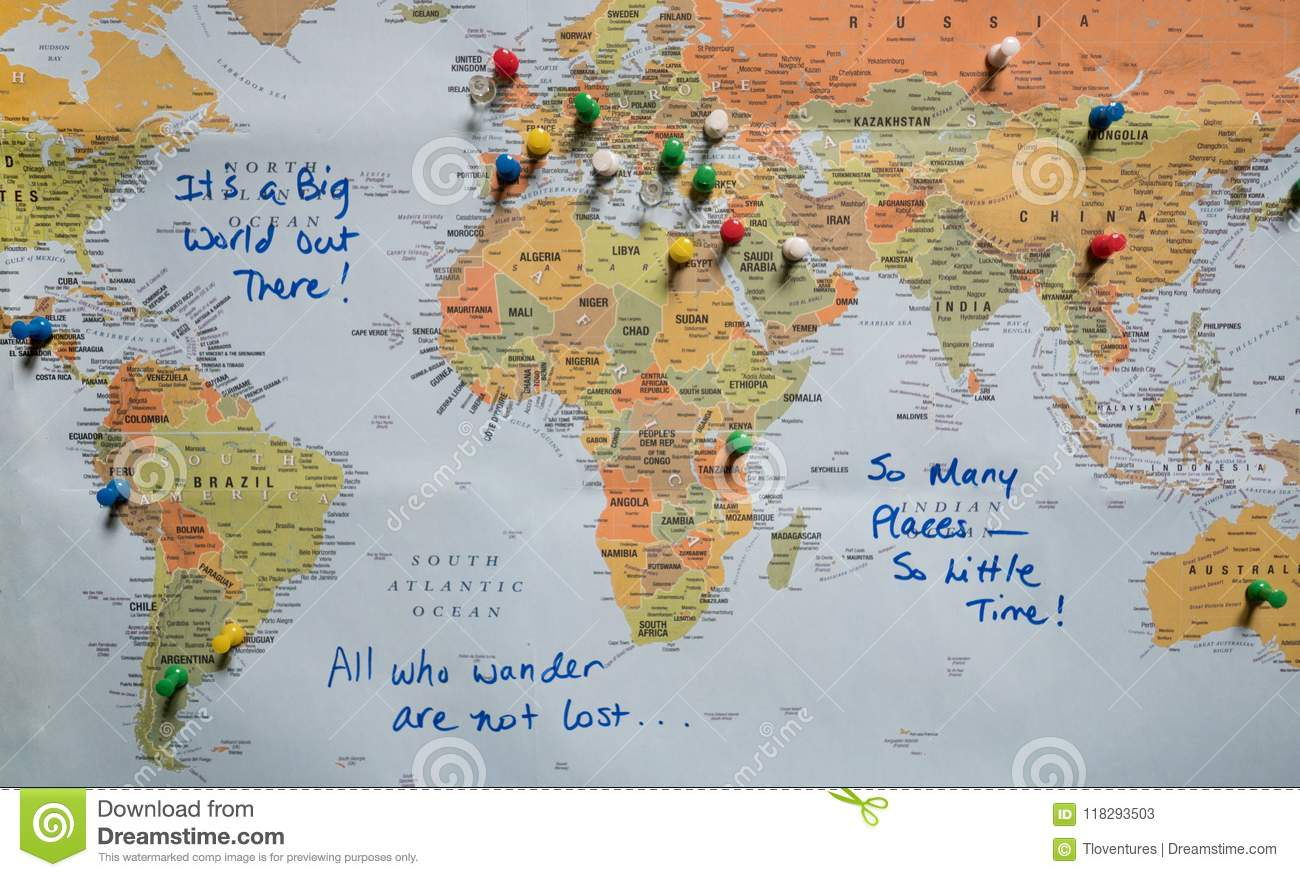 Map With Push Pins And Travel Quotes Stock Image - Image of ...