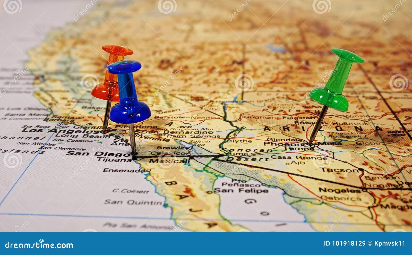 Map Of Arizona Destinations.Map With Pushpins Stock Image Image Of Vacations Destinations