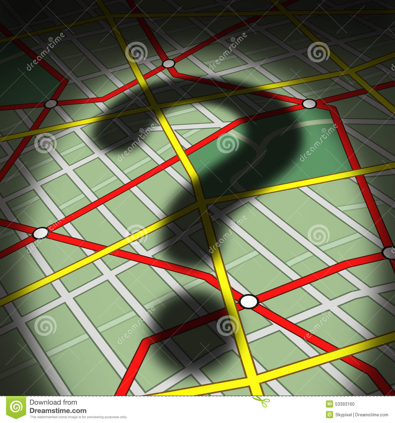 map question stock illustration illustration of life 53393160map questions concept as a city street topographic diagram with a cast shadow of a question mark as a business or life metaphor for direction uncertainty