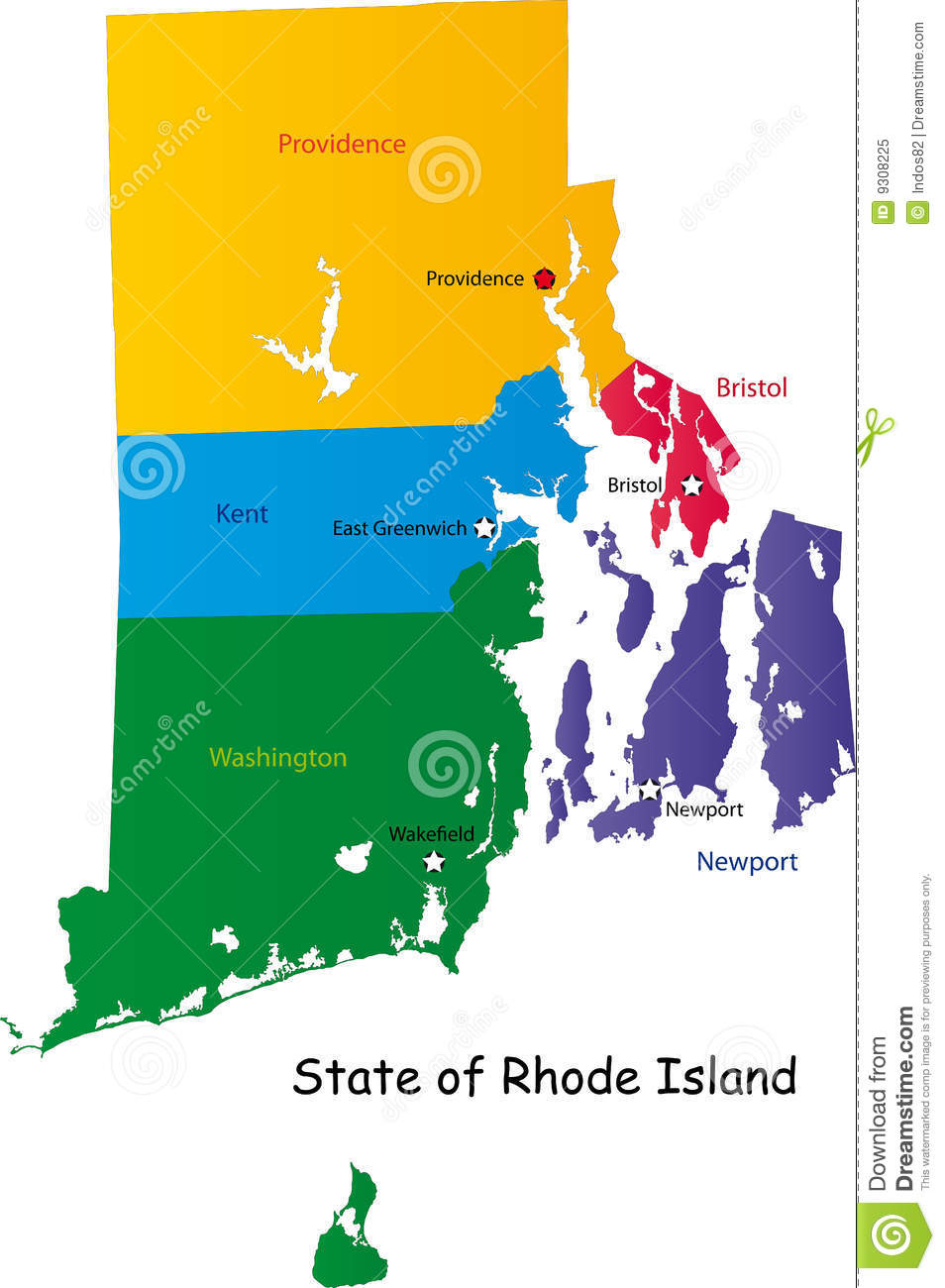 Map of Rhode Island state