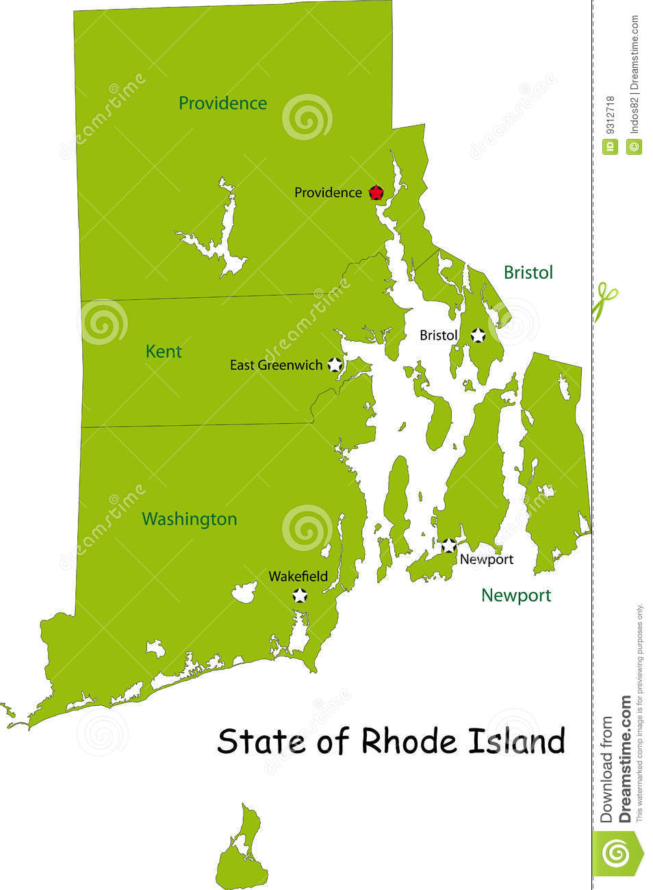Map Of Rhode Island State Stock Vector Image Of National