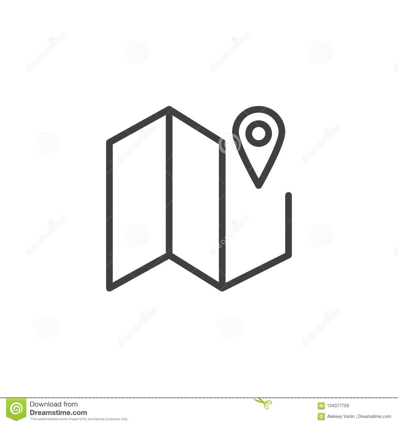 Map And Road Pointer Line Icon Stock Vector Illustration Of