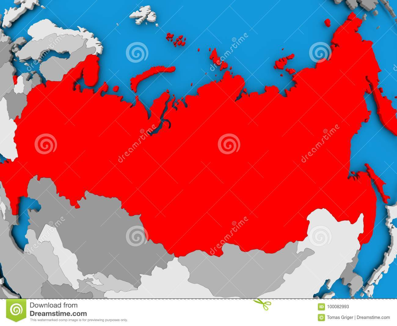 Map of Russia stock illustration. Illustration of political - 100082993