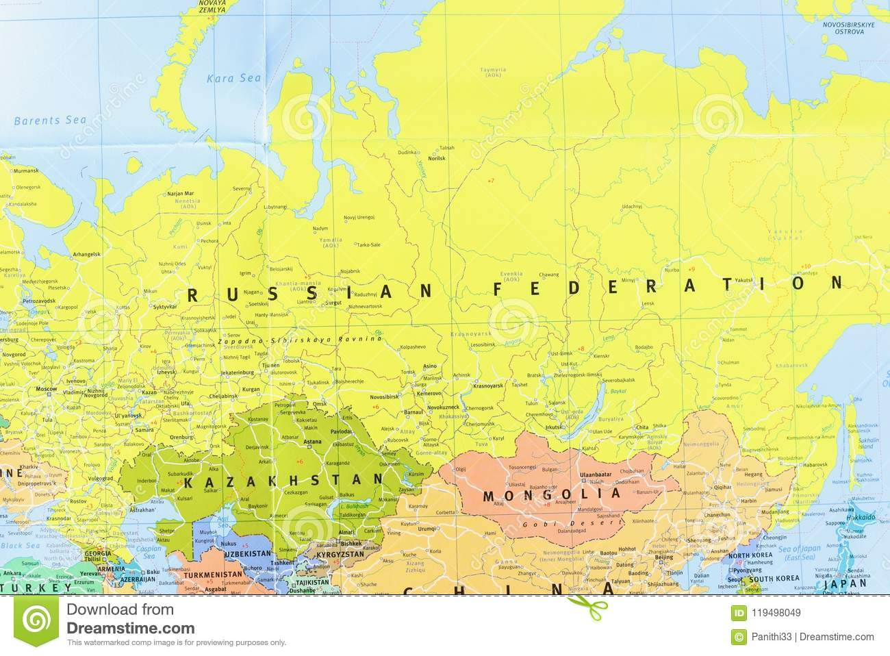 Close-Up View Of Map Of The Russian Federation And Its ...