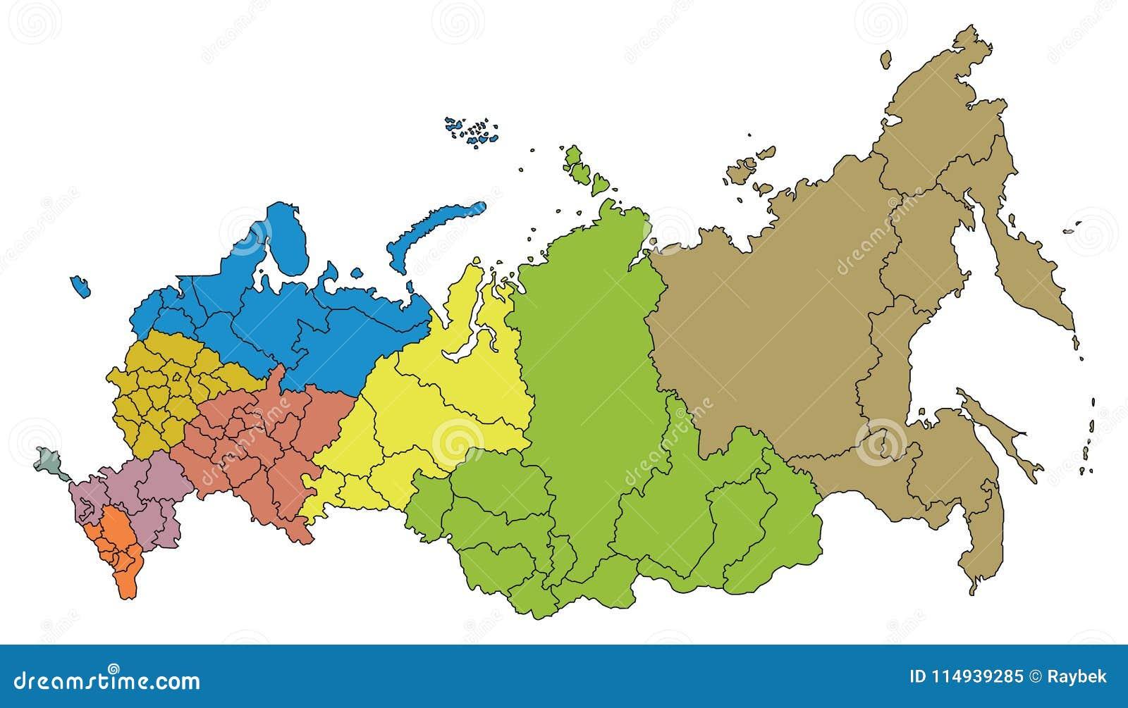 Map of Russian Federation stock illustration. Illustration of ...