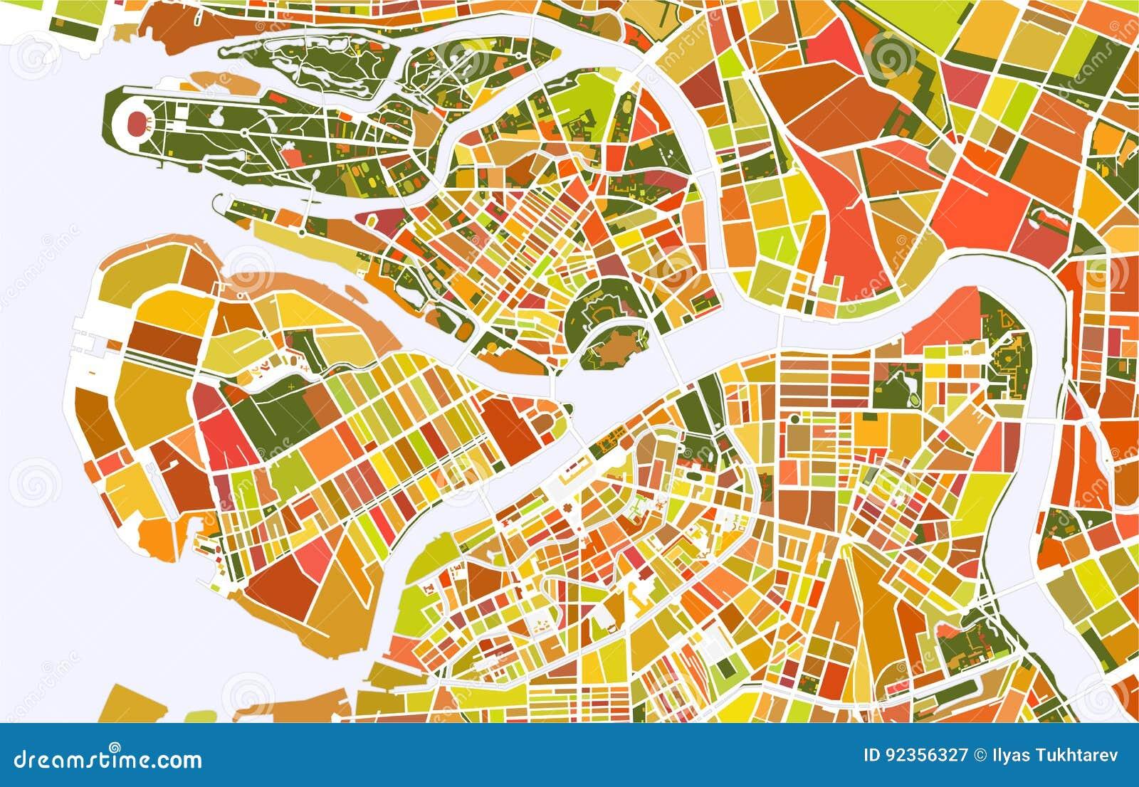 Map Saint Petersburg Russia Stock Vector Illustration Of