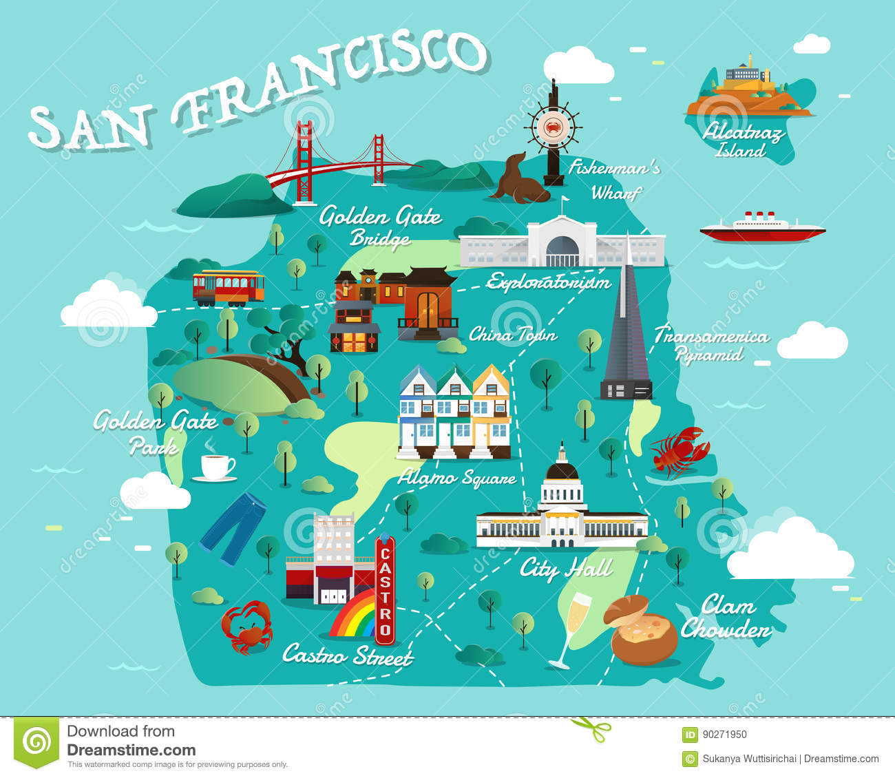 Map Of San Francisco Attractions Vector And Illustration Stock - San francisco map vector free download