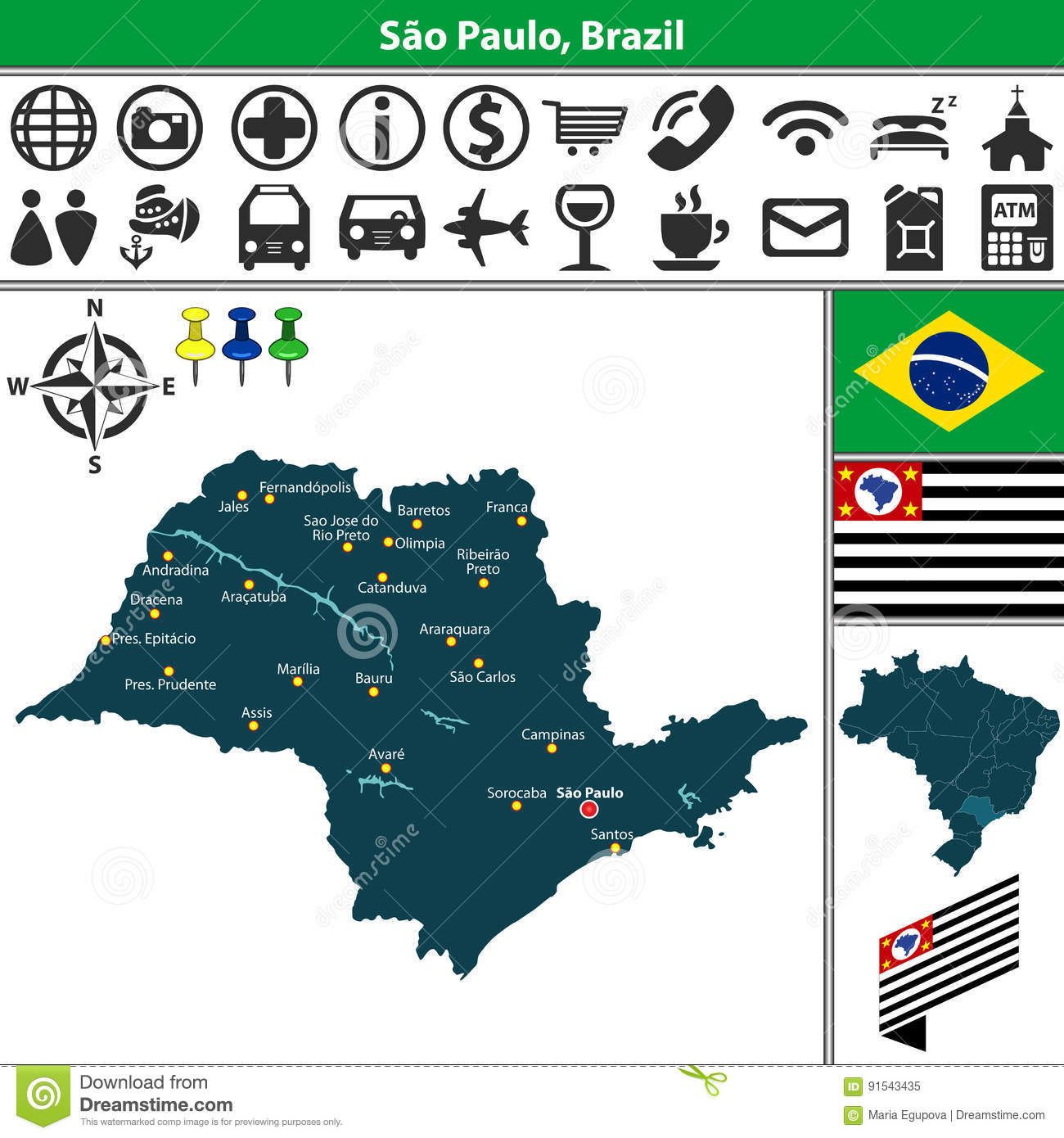 Map of Sao Paulo, Brazil stock vector. Illustration of country ...