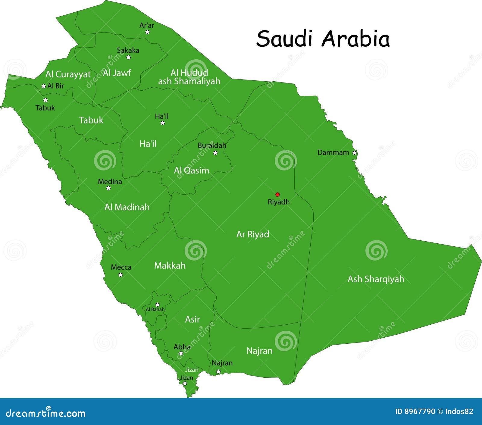 Map of Saudi Arabia stock vector. Illustration of geography - 8967790