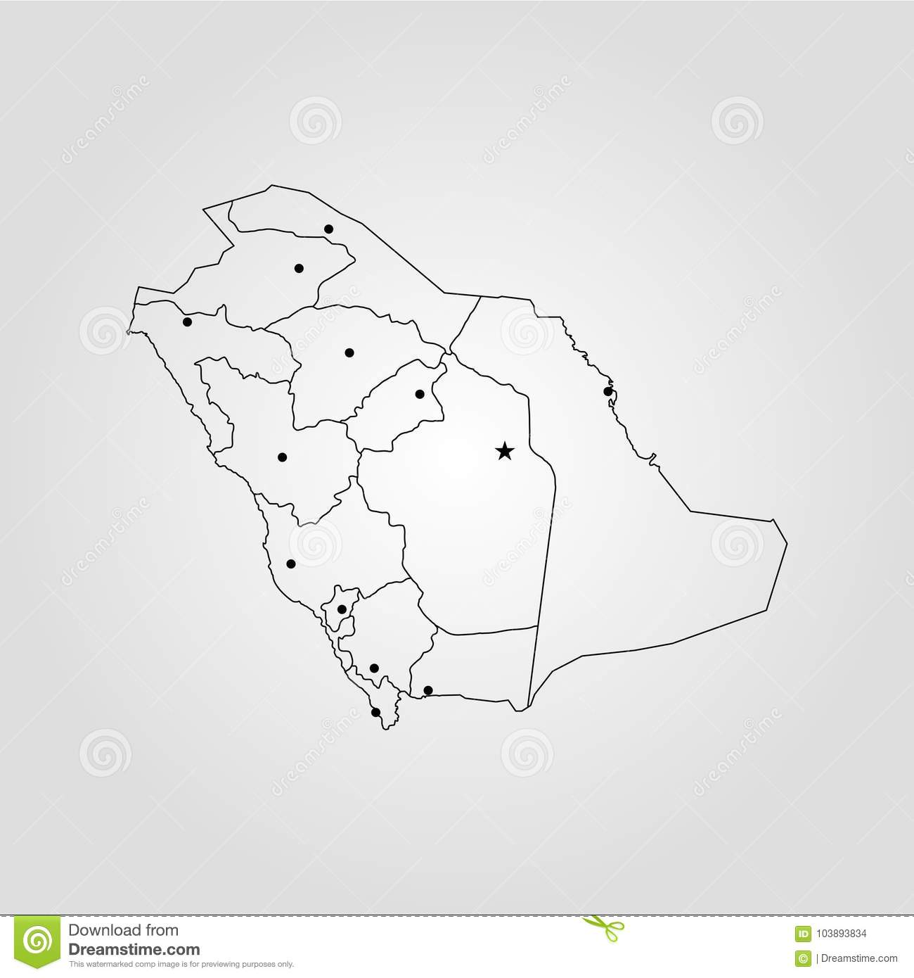 Map of Saudi Arabia stock illustration. Illustration of atlas ...