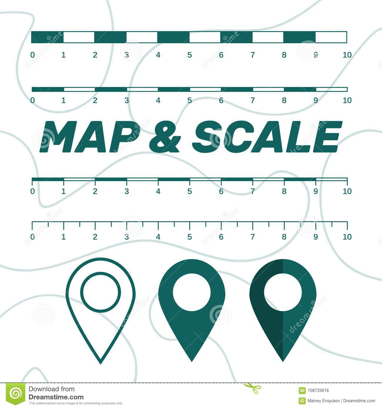 Map Scales Graphics For Measuring Distances  Scale Measure