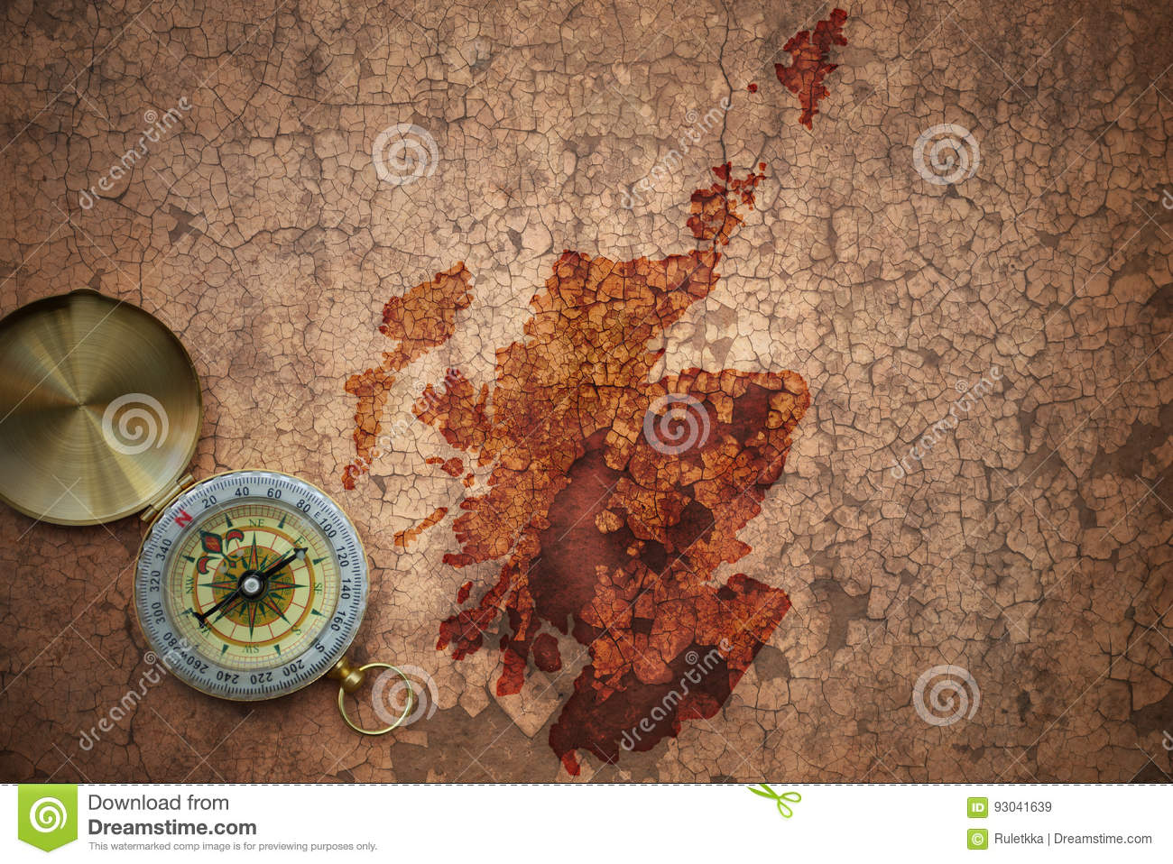 Map Of Scotland On A Old Vintage Crack Paper Stock Image - Image of