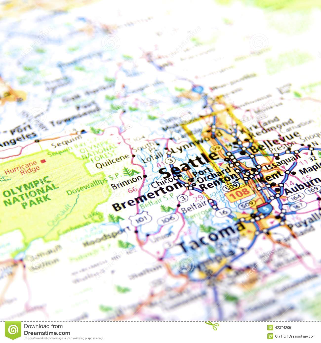 Washington State Map Seattle.Map Of Seattle Stock Image Image Of National Road States 42374205
