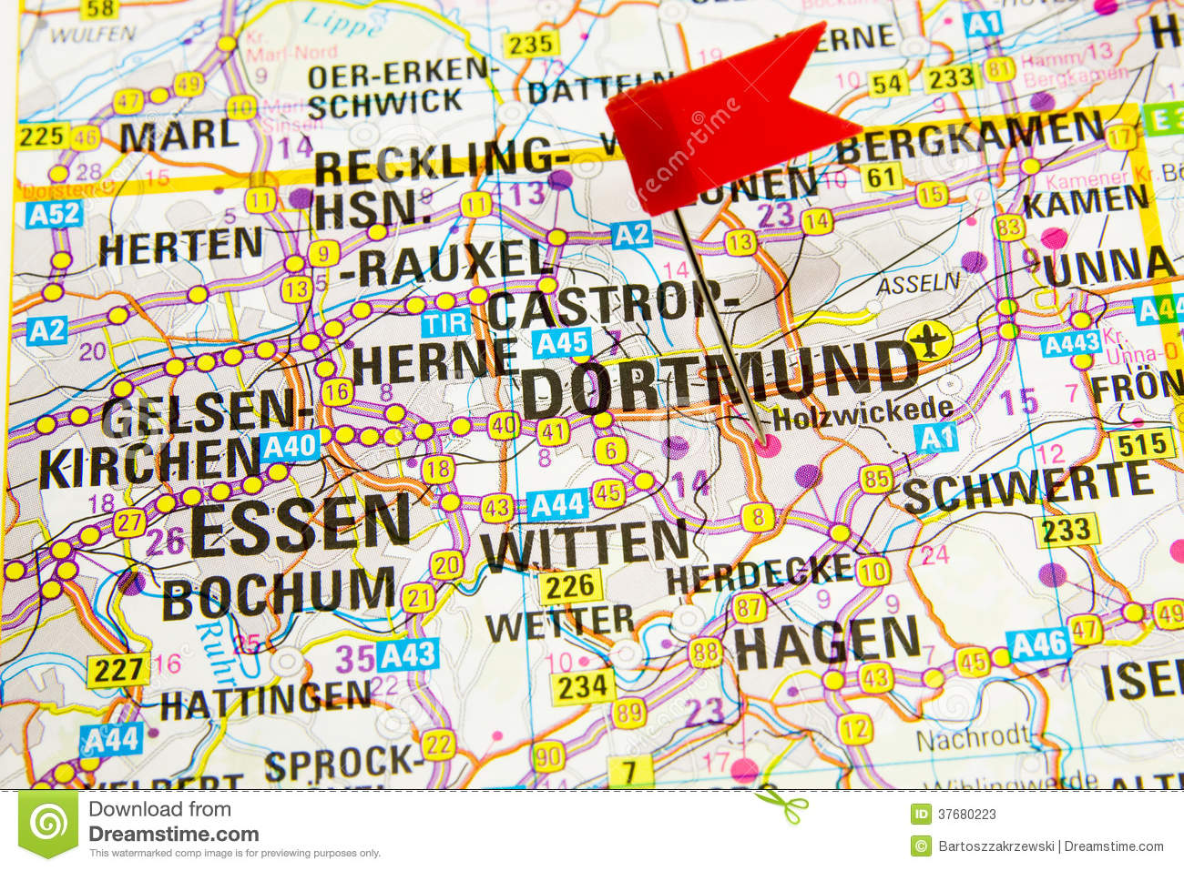 Map Of The Selected City Dortmund Germany Stock Photos Image - Germany map dortmund