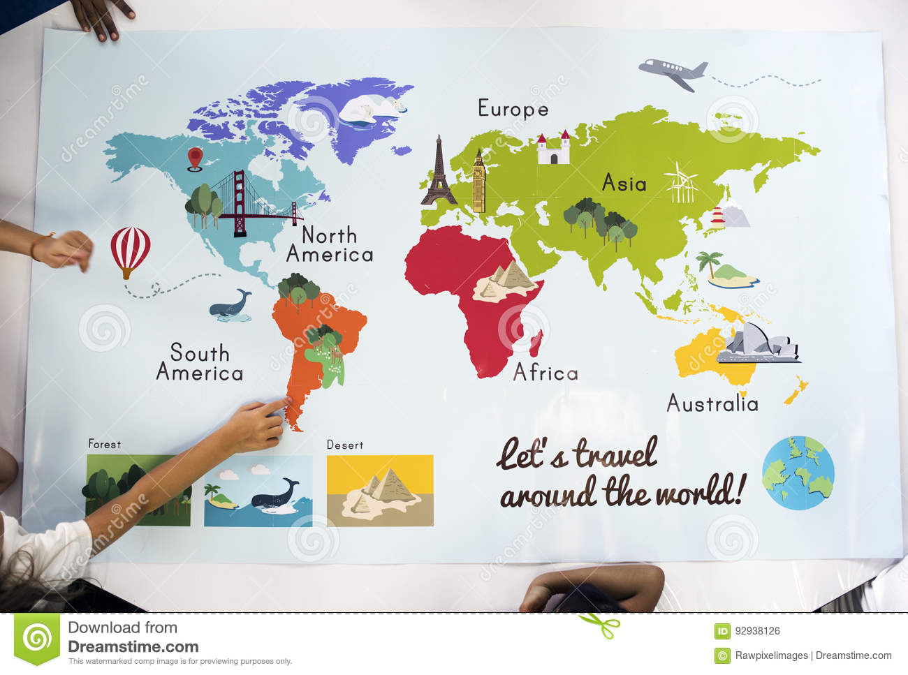 Map Showing World Continents Countries Ocean Geography Stock Photo ...