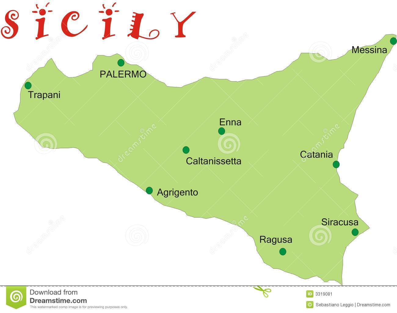 Map of Sicily stock vector. Illustration of catania ... Sicile Map on
