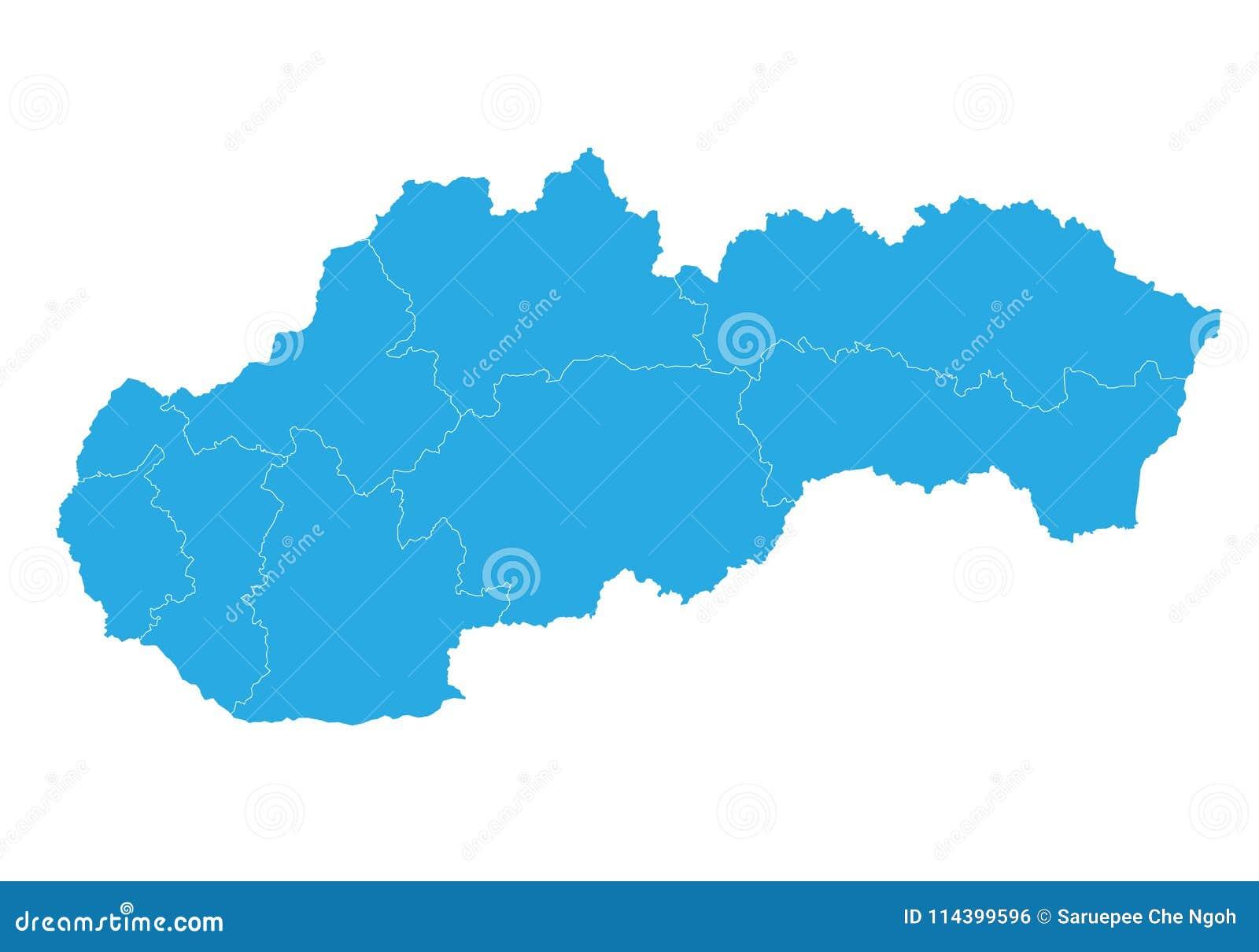 Map Of Slovakia. High Detailed Vector Map - Slovakia. Stock Vector ...