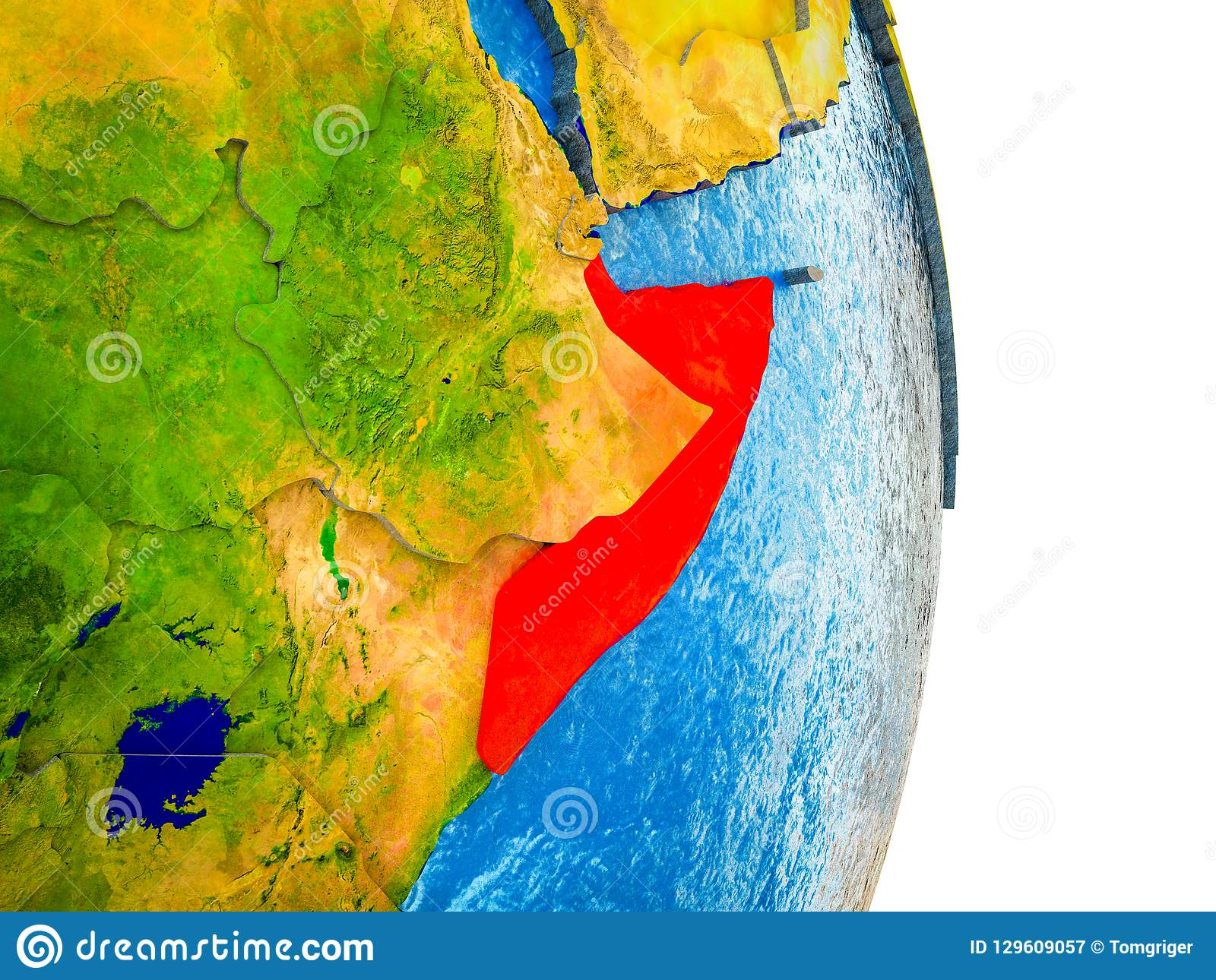 Map of Somalia on 3D Earth stock illustration. Illustration ...