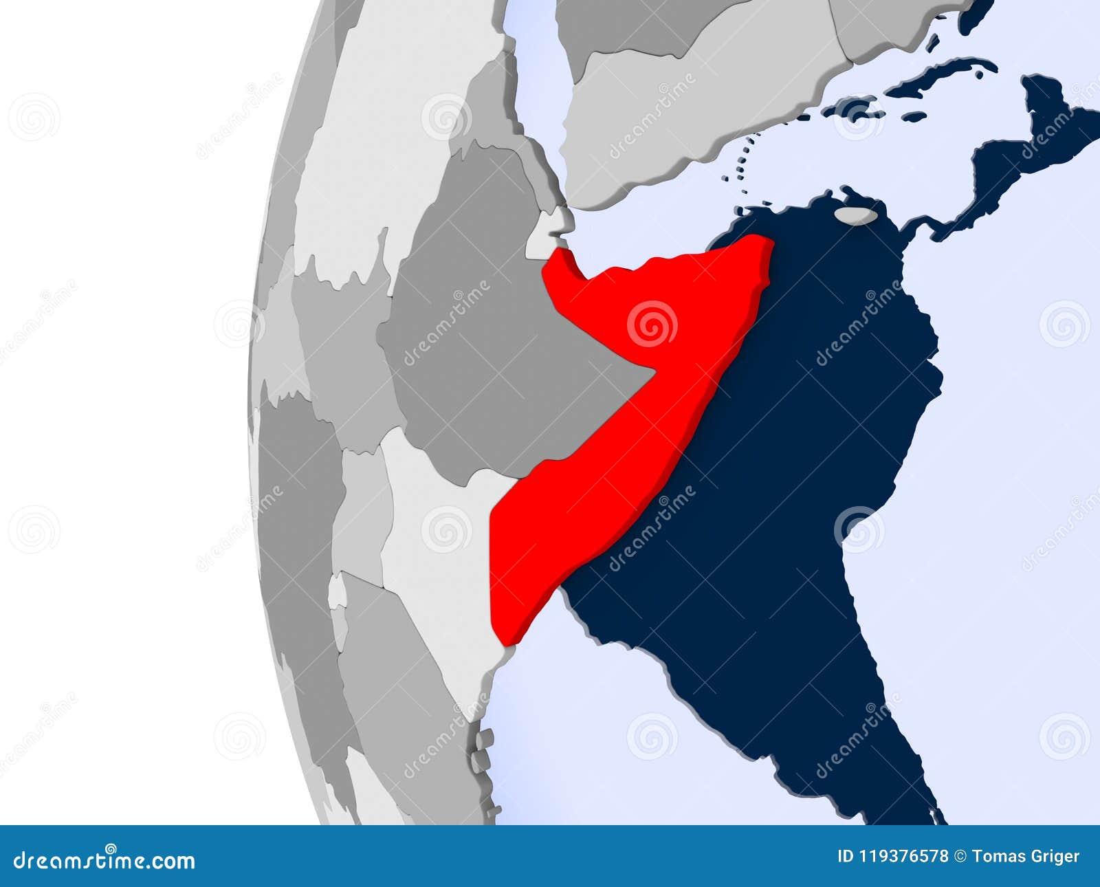 Map Of Somalia On Political Globe Stock Illustration - Illustration Political Map Of Somalia on