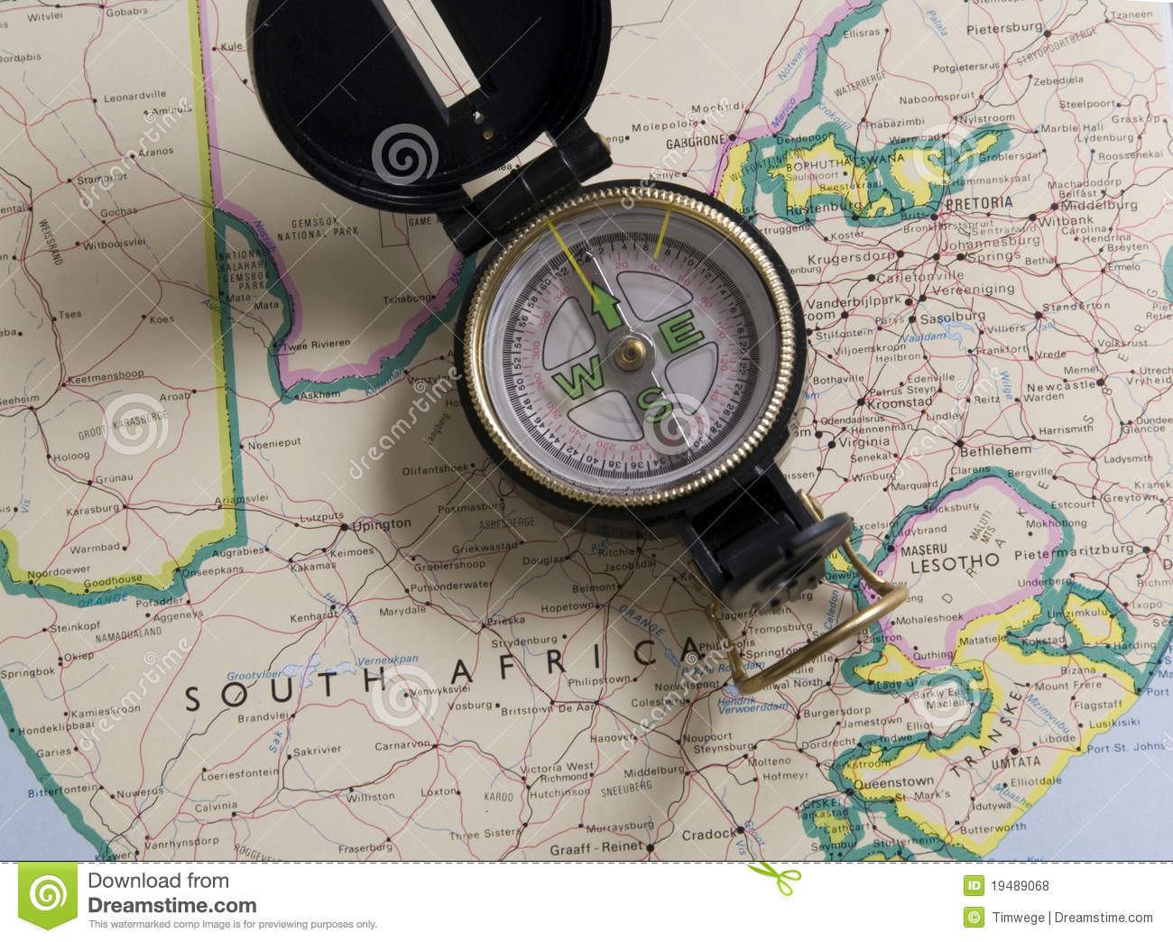 Map Of South Africa With Comp Stock Photo - Image of direction ... Direction Maps South Africa on