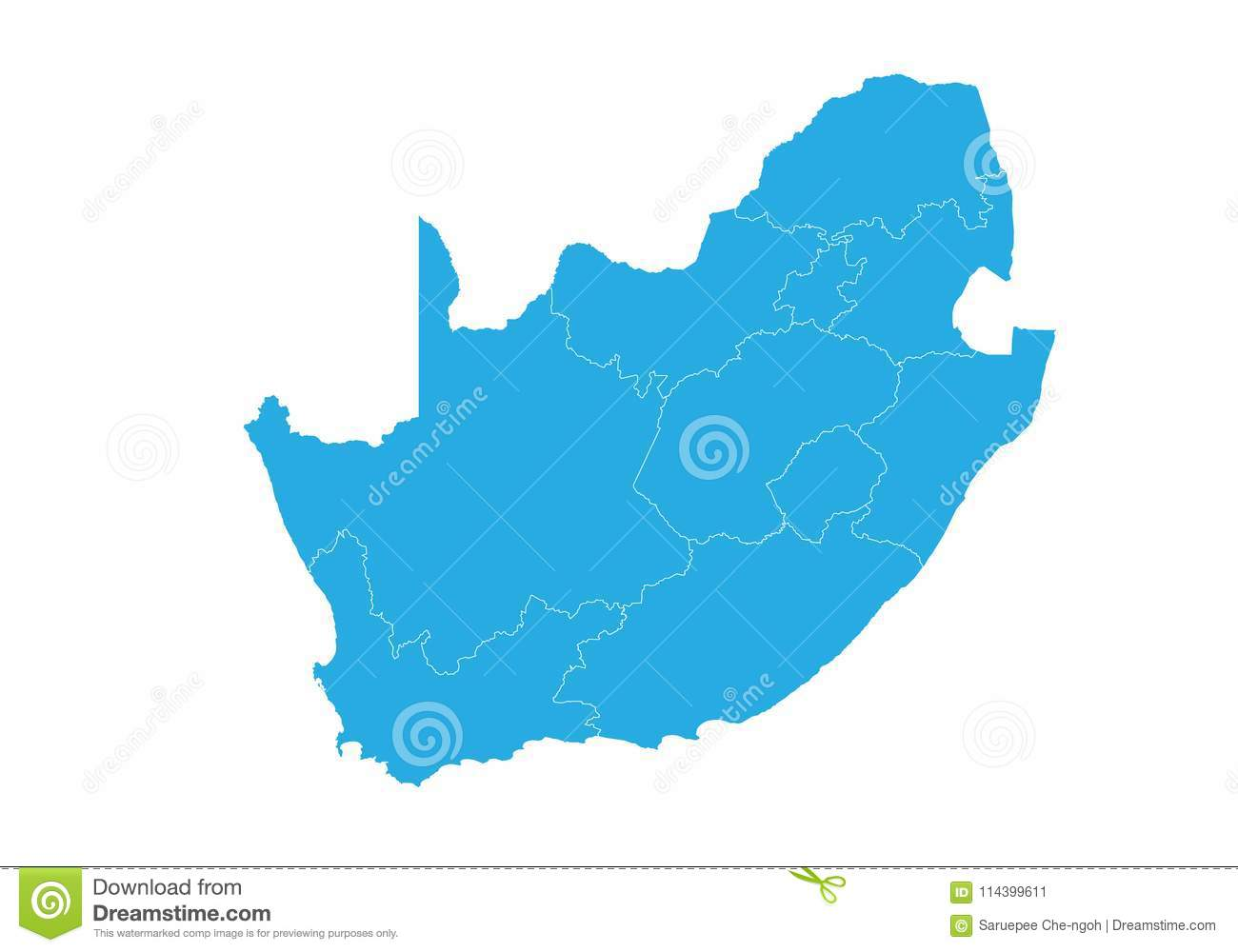 Shape Of Africa Map.Map Of South Africa High Detailed Vector Map South Africa Stock
