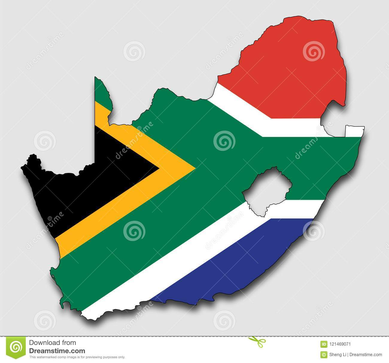 Map Of Africa Fill In.Map Of South Africa Filled With The National Flag Stock Vector