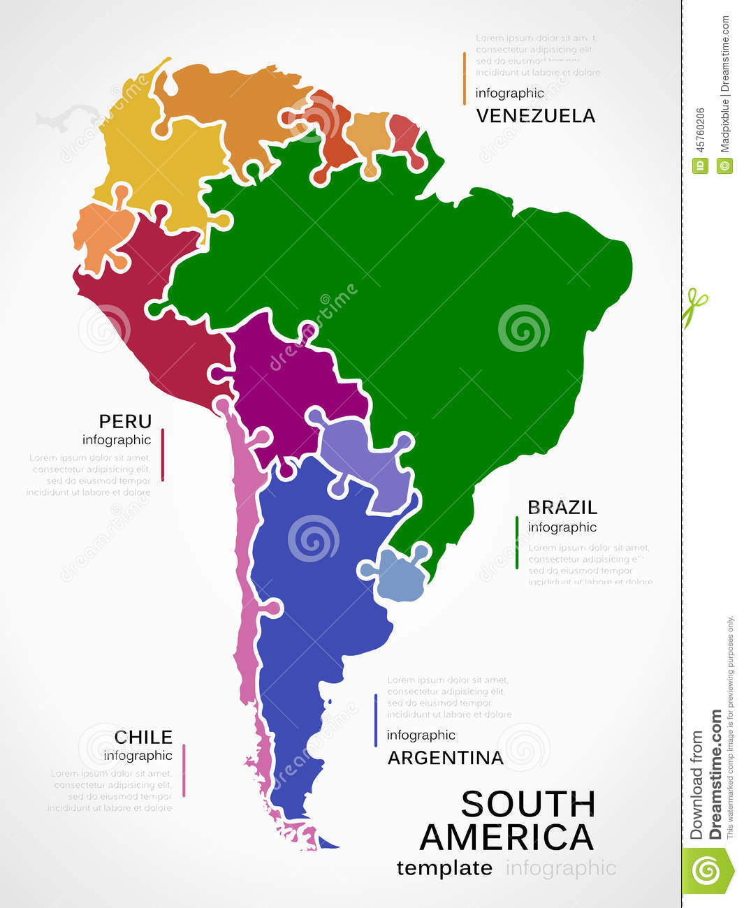 Map Of America Jigsaw.Map Of South America Stock Vector Illustration Of Jigsaw 45760206