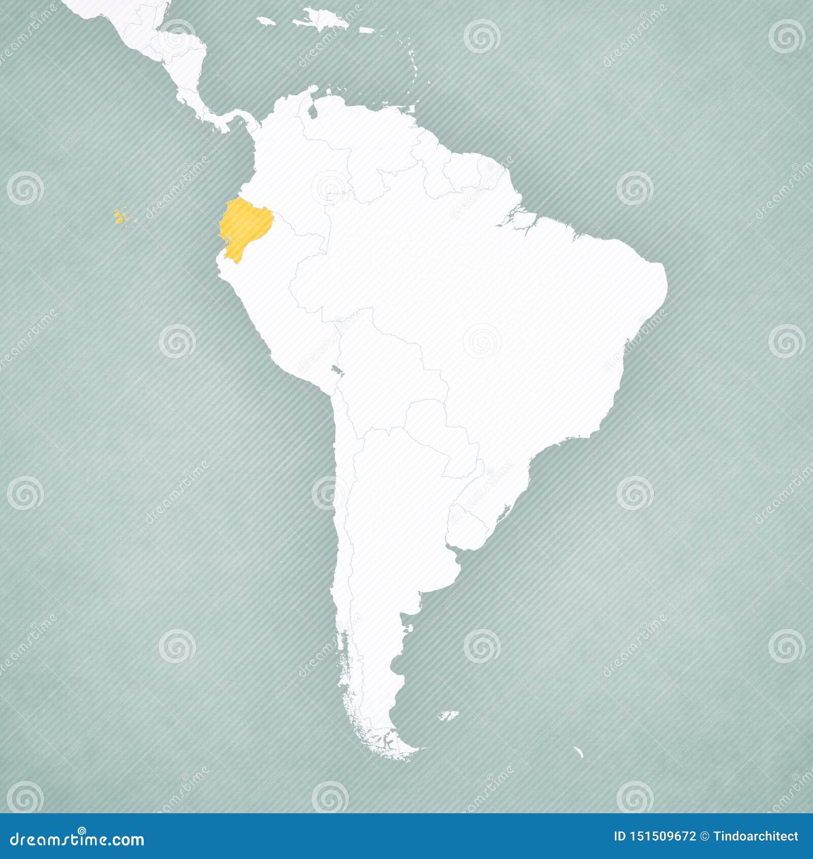 Map Of South America Ecuador Stock Illustration