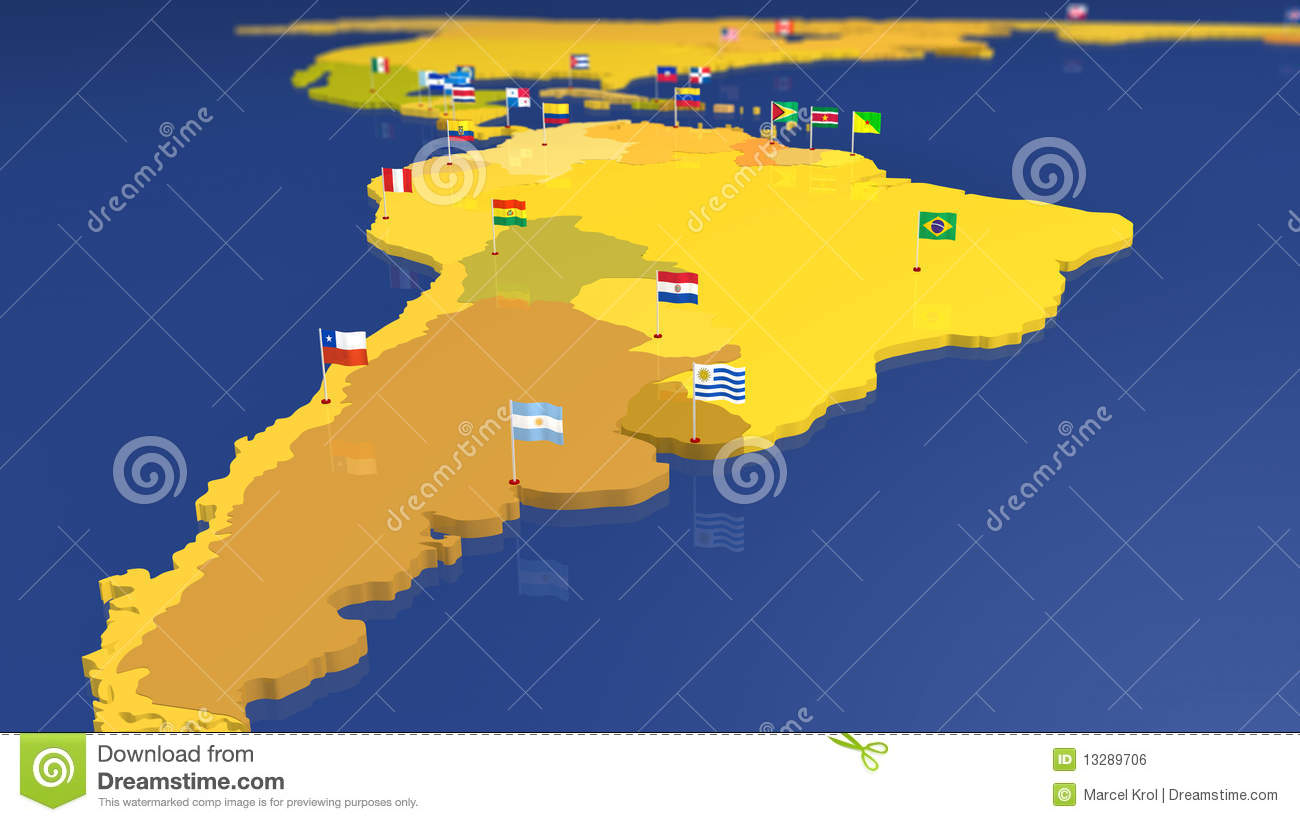 Map Of South America With National Flags Stock Illustration ... Capital Cities Of South American Countries on