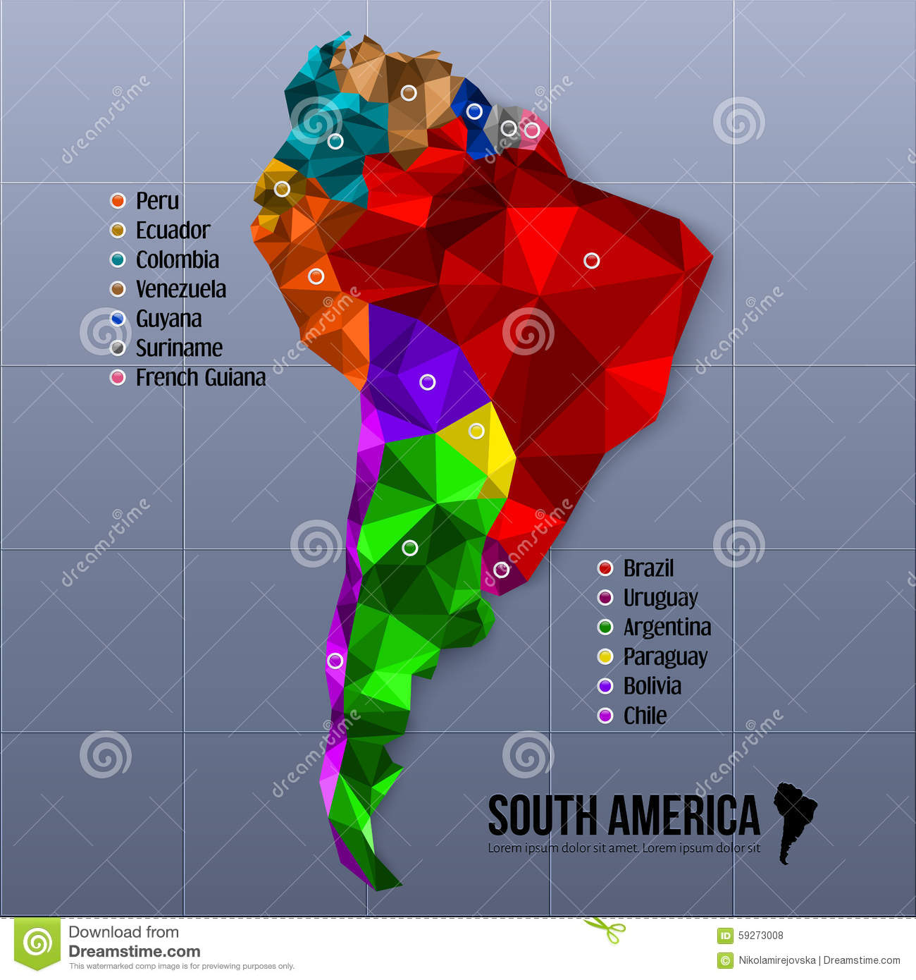 Map south america showing states in polygonal stock vector for South american decor
