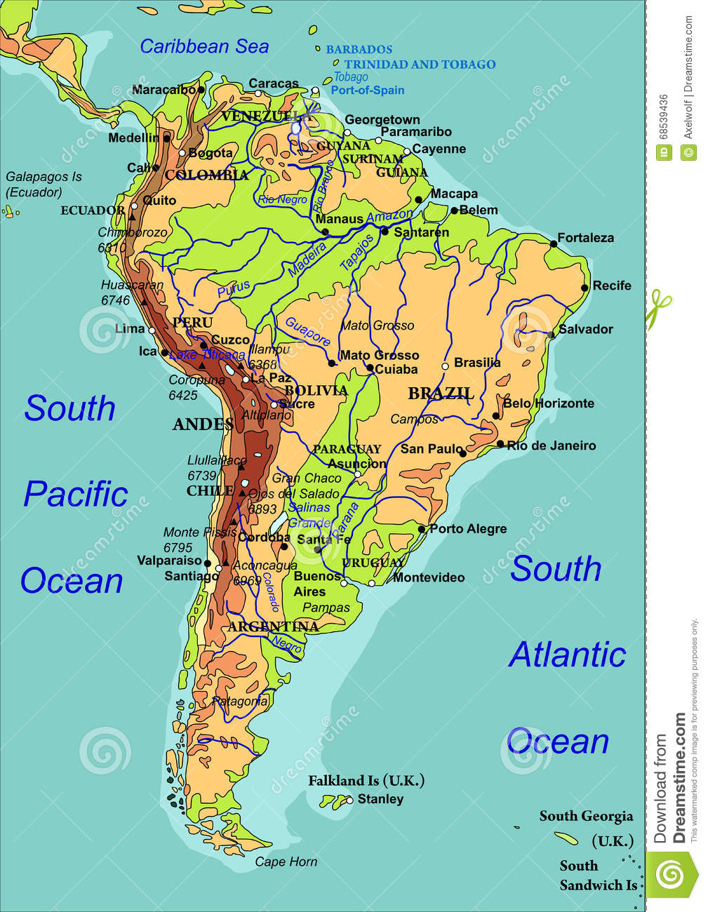 Cape Horn On South America Map.Map Of South America Vector Illustration Stock Vector