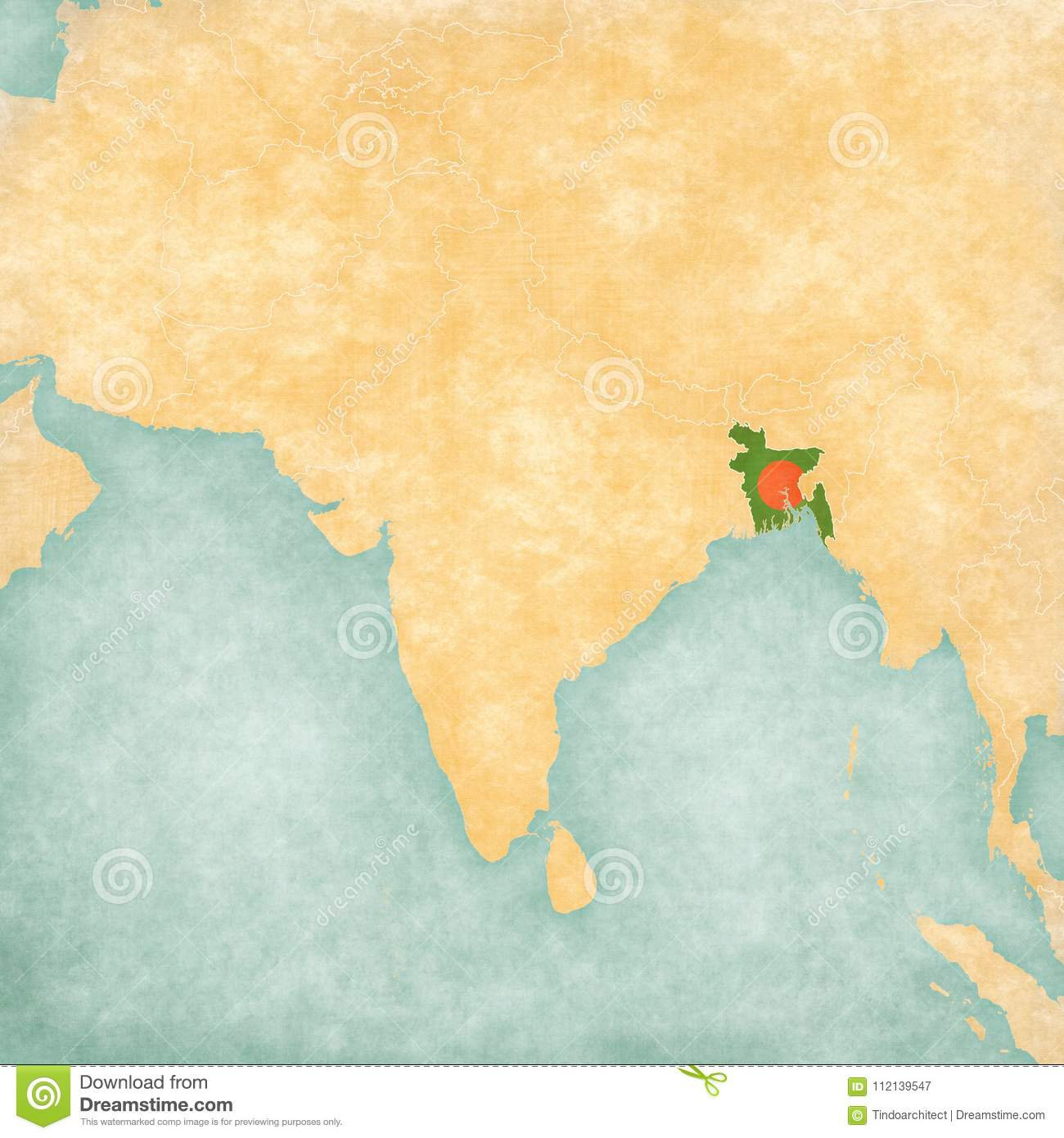 Bangladesh On Map Of Asia.Map Of South Asia Bangladesh Stock Illustration Illustration Of