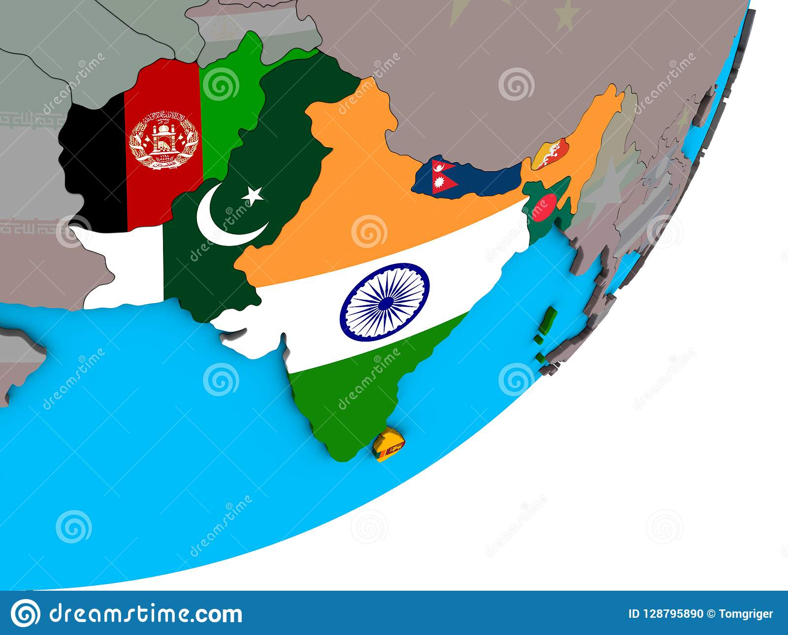 South Of Asia Map.Map Of South Asia With Flags On Globe Stock Illustration