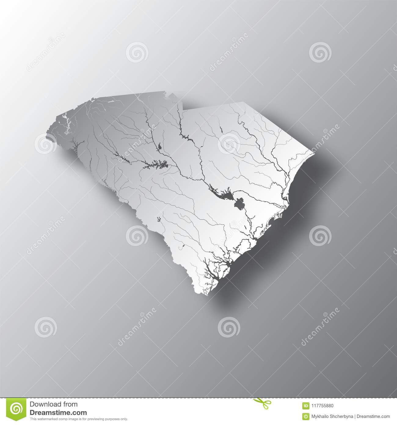 Map Of South Carolina With Lakes And Rivers. Stock Vector ...