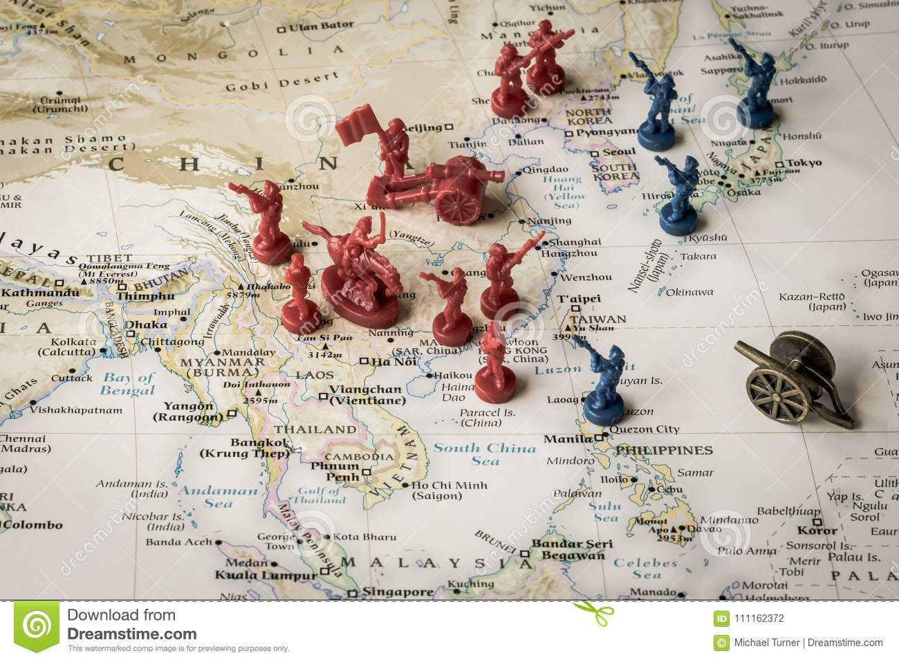 Map Of China And Surrounding Areas.Map Of The South China Sea And Surrounding Area Stock Photo Image
