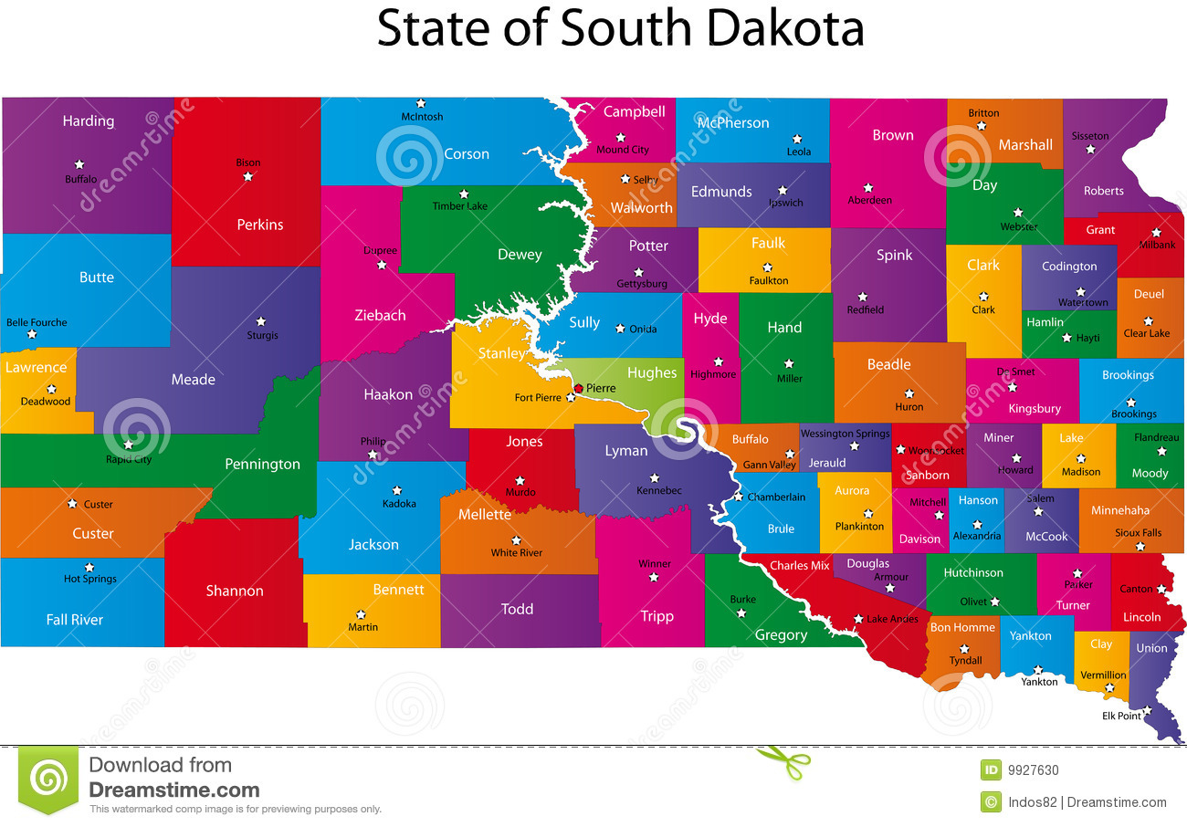 Map Of South Dakota State Stock Vector Illustration Of Maine 9927630