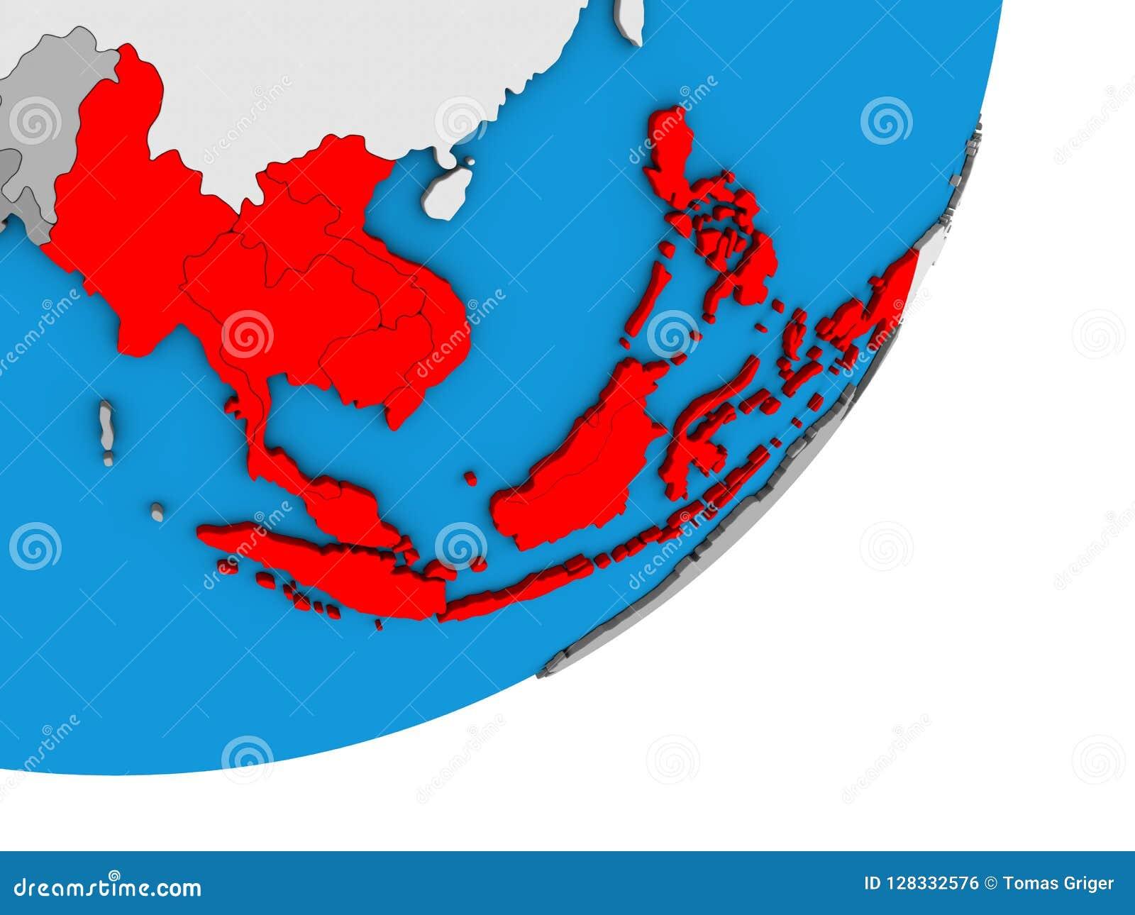 Map Of South East Asia On 3D Globe Stock Illustration - Illustration ...