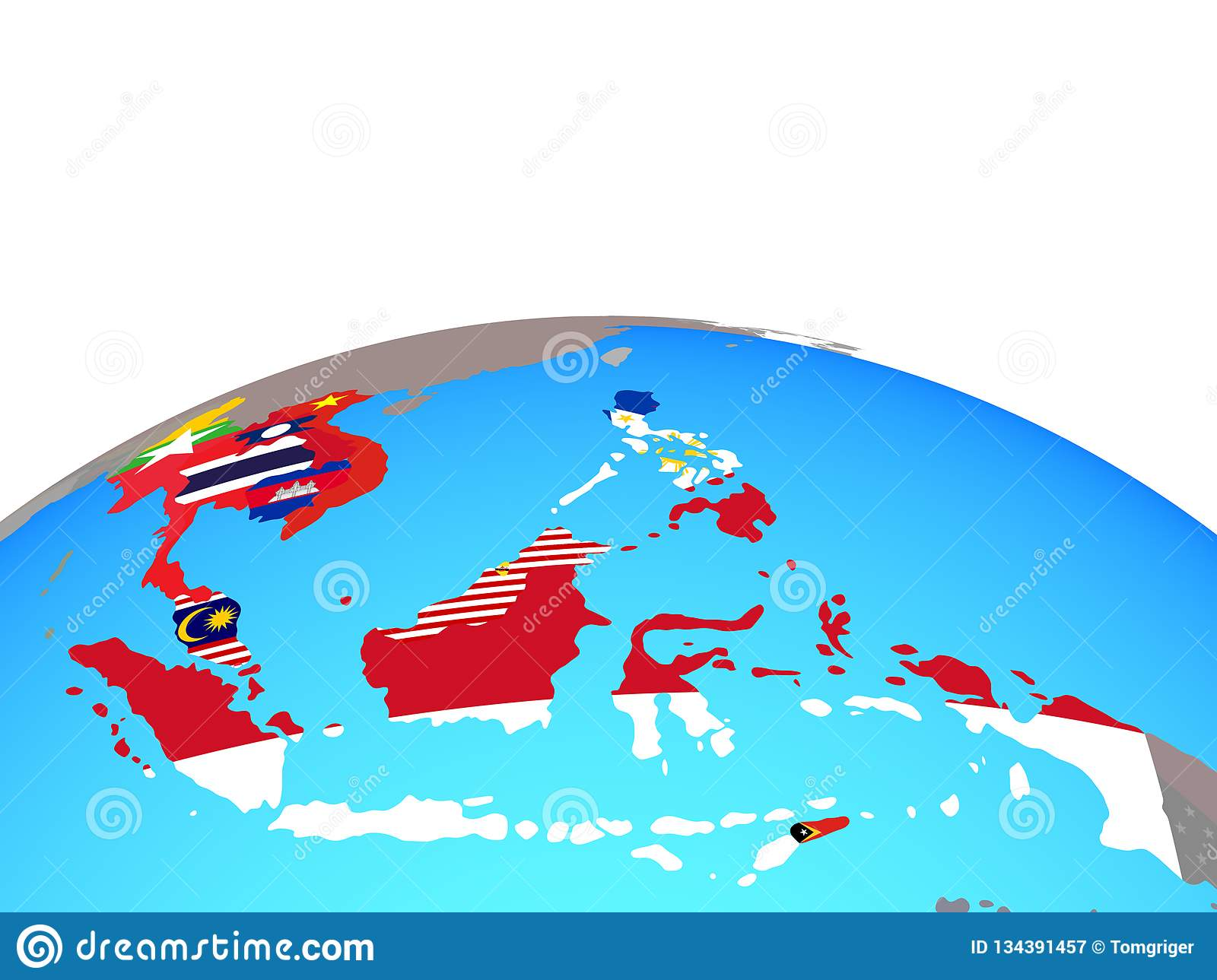 Map Of South East Asia With Flags On Globe Stock ... Globe Map Of South Asia on map of world globe, map of north america globe, map of new zealand globe, map of middle east globe,