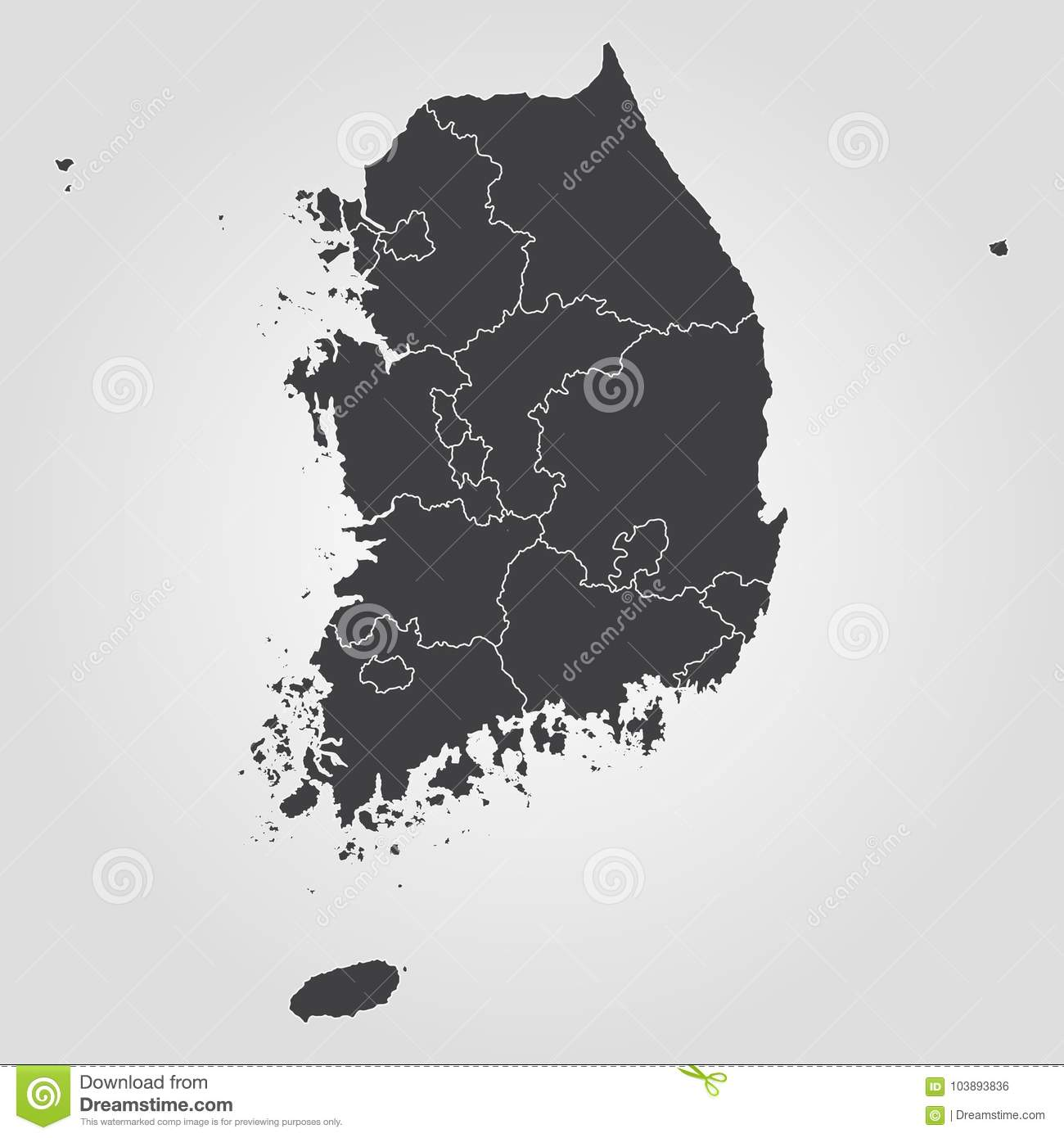 Map of South Korea stock illustration. Illustration of continent ...