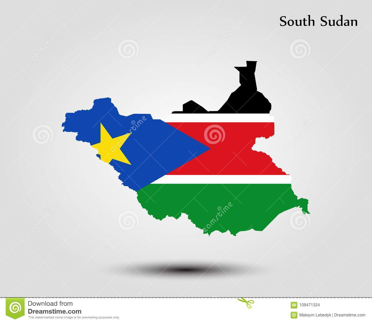 Map of South Sudan stock illustration. Illustration of isolated ...