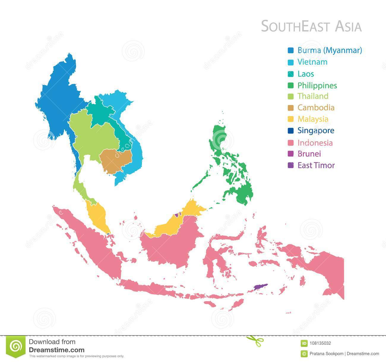 Map of Southeast Asia stock vector. Illustration of cambodia - 108135032