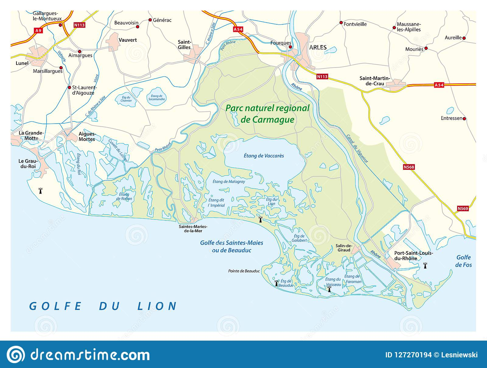 Map Of The Southern French Regional Natural Park Camargue Franc