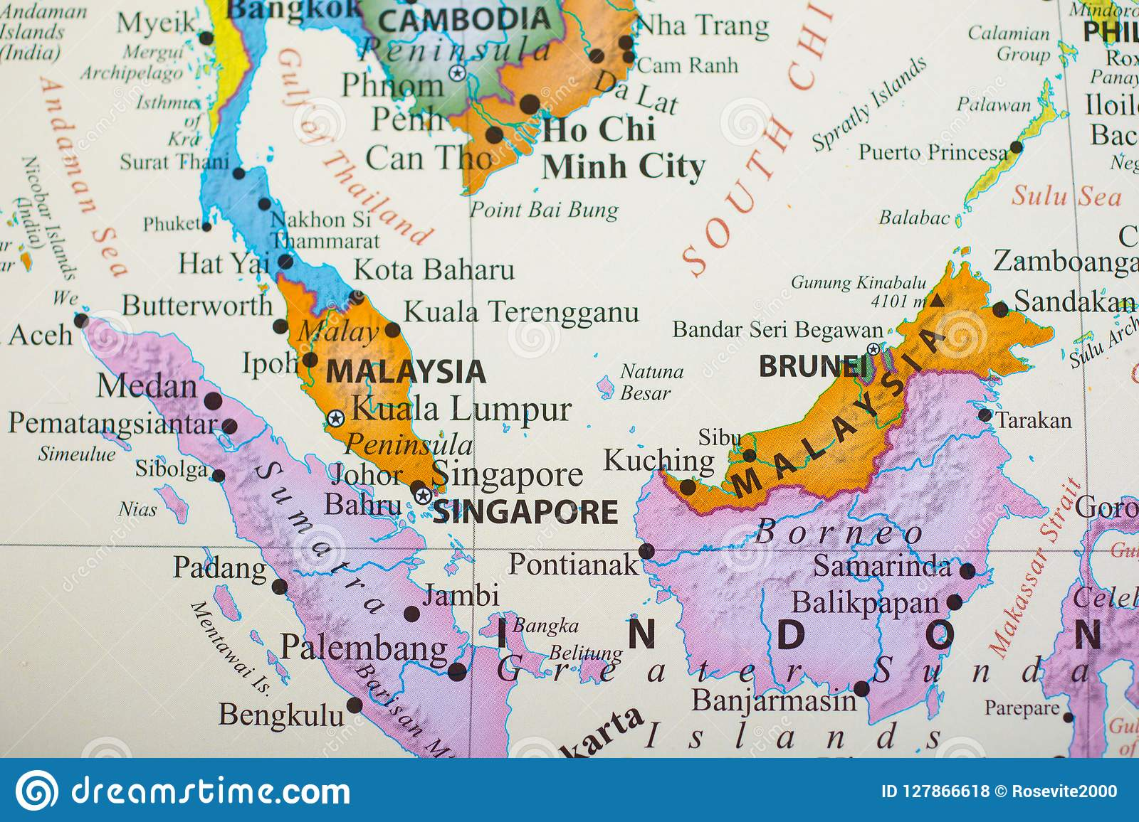 Image of: Map Of Southern Part Of Southeast Asia Stock Photo Image Of Indonesia Brunei 127866618