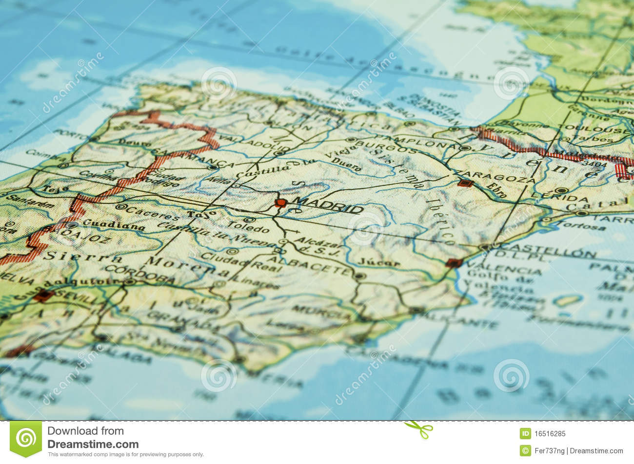 Map Of Spain Coast.Map Of Spain Stock Image Image Of Coast Geography 16516285
