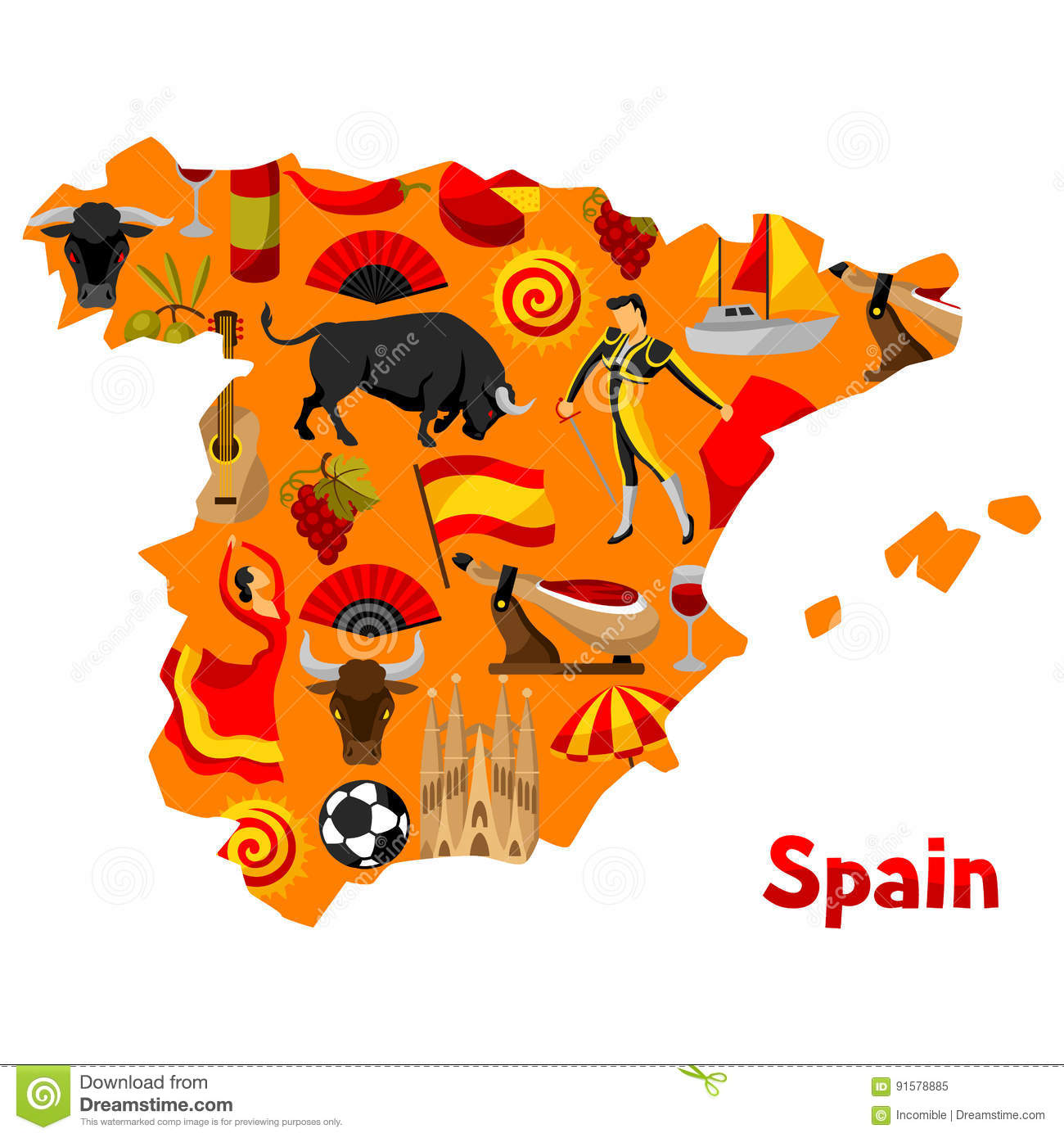 Football Map Of Spain.Map Of Spain Background Design Spanish Traditional Symbols And