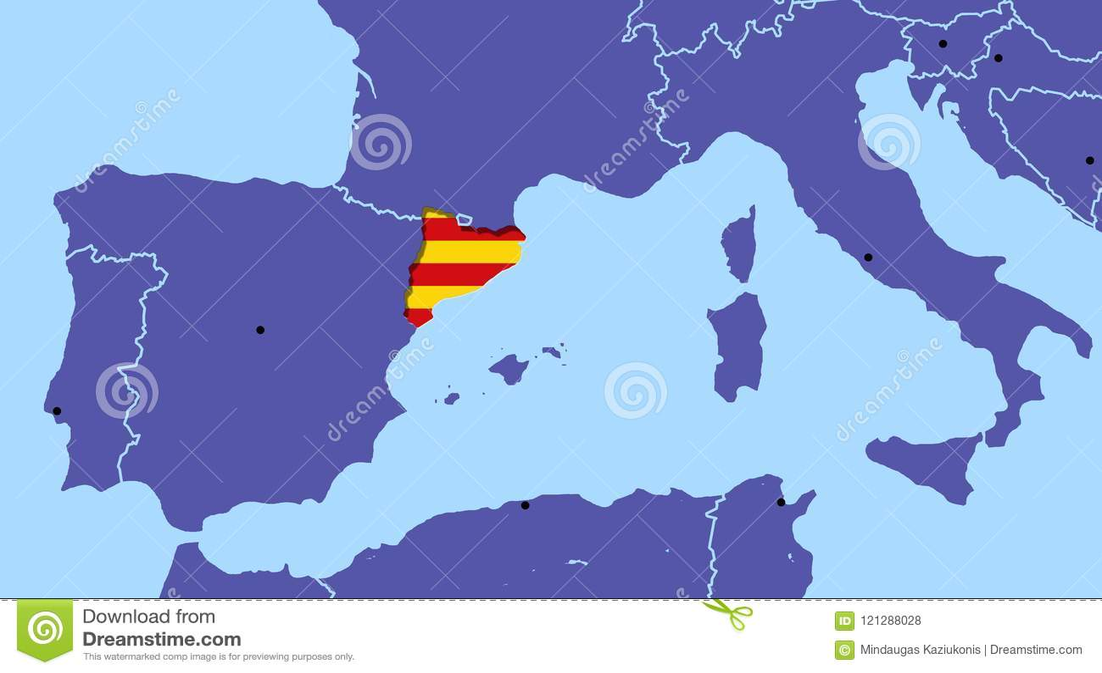 Map Spain Catalonia referendum independence barcelona