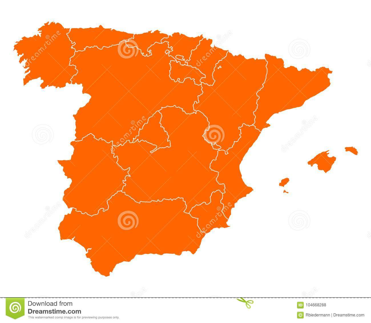 Map Of Spain Download Free.Map Of Spain Stock Vector Illustration Of Murcia Borders 104668288