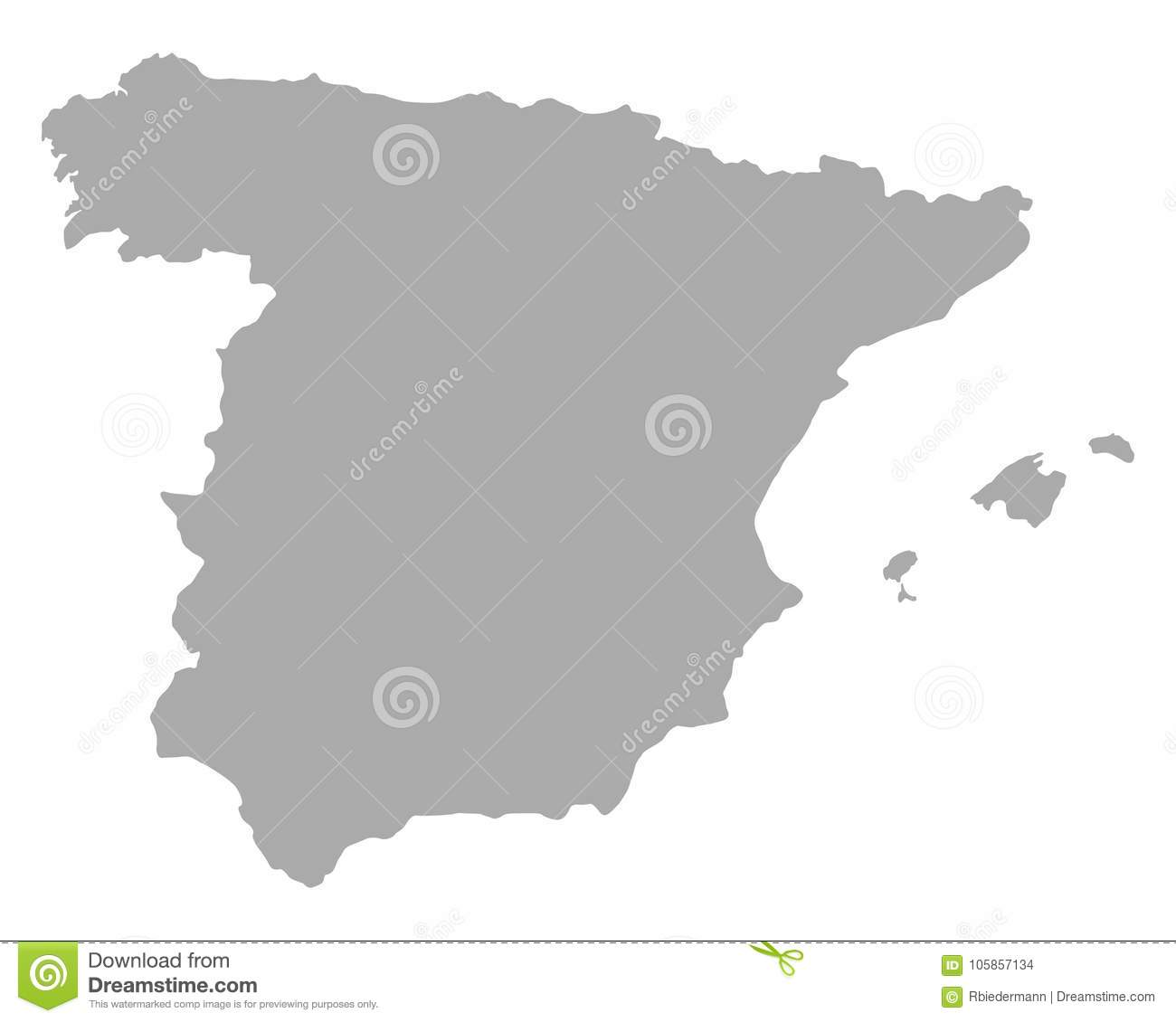 Map Of Spain Download Free.Map Of Spain Stock Vector Illustration Of Grey Contour 105857134
