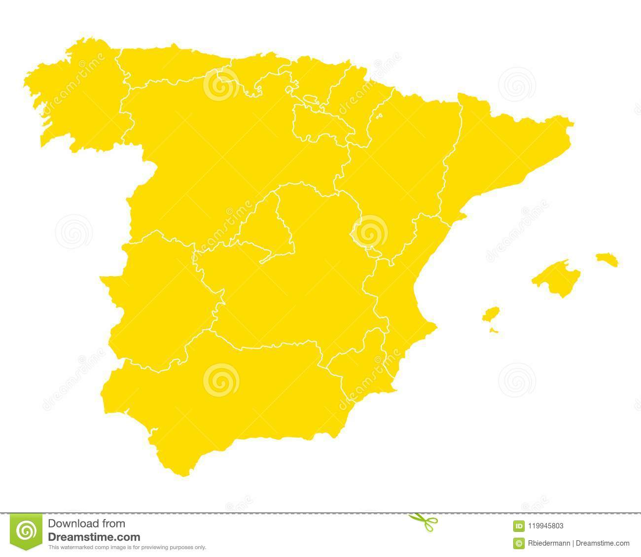 Map Of Spain Download Free.Map Of Spain Stock Vector Illustration Of Travel Isolated 119945803